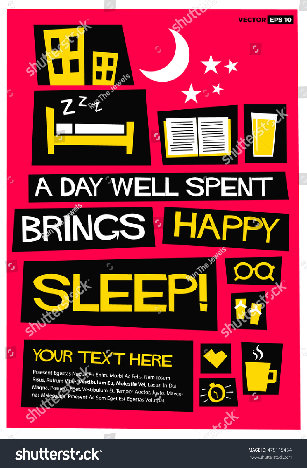 Day Well Spent Brings Happy Sleep Stock Vector Royalty Free