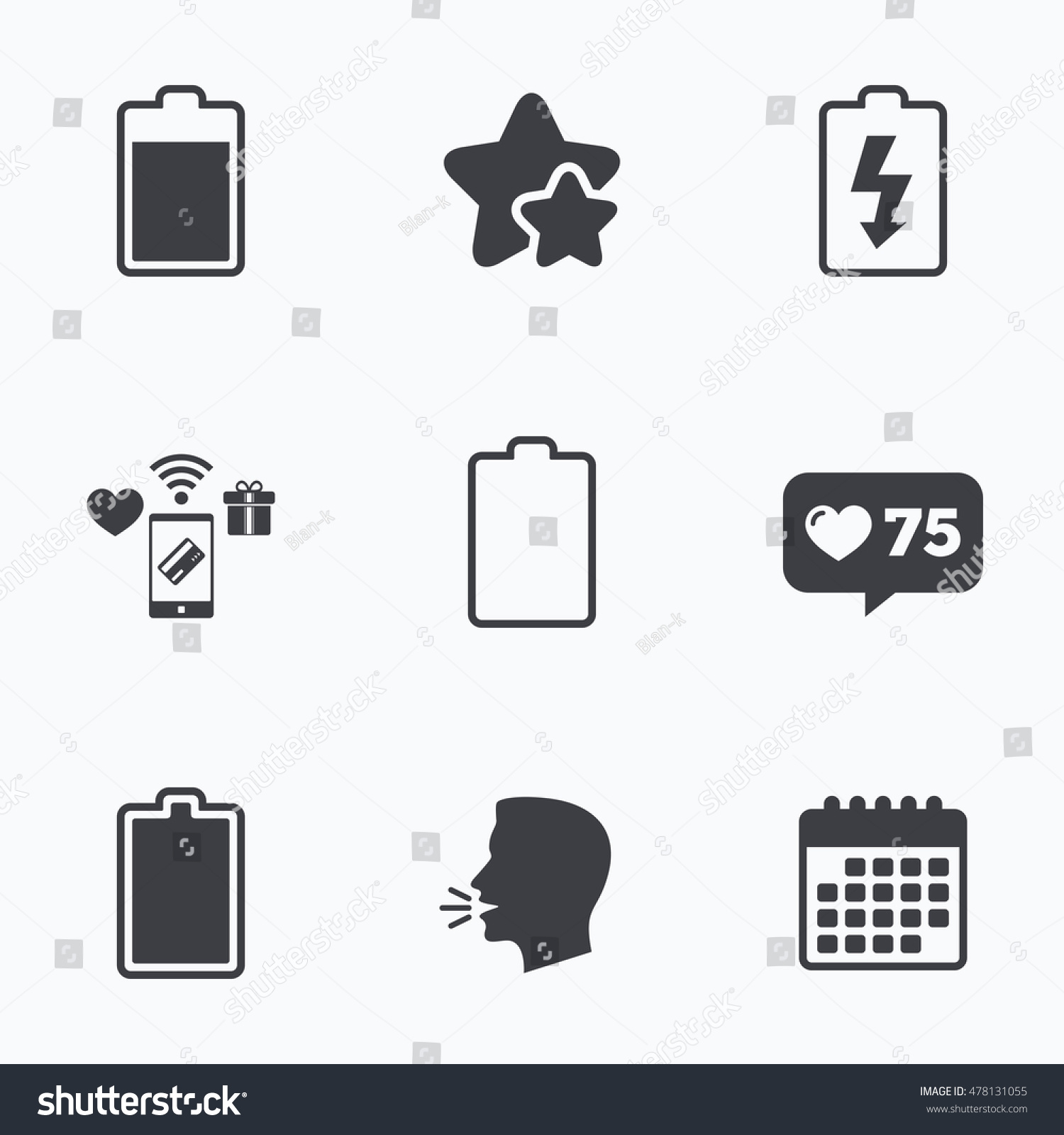 Battery Charging Icons Electricity Signs Symbols Stock Photo (Photo ...