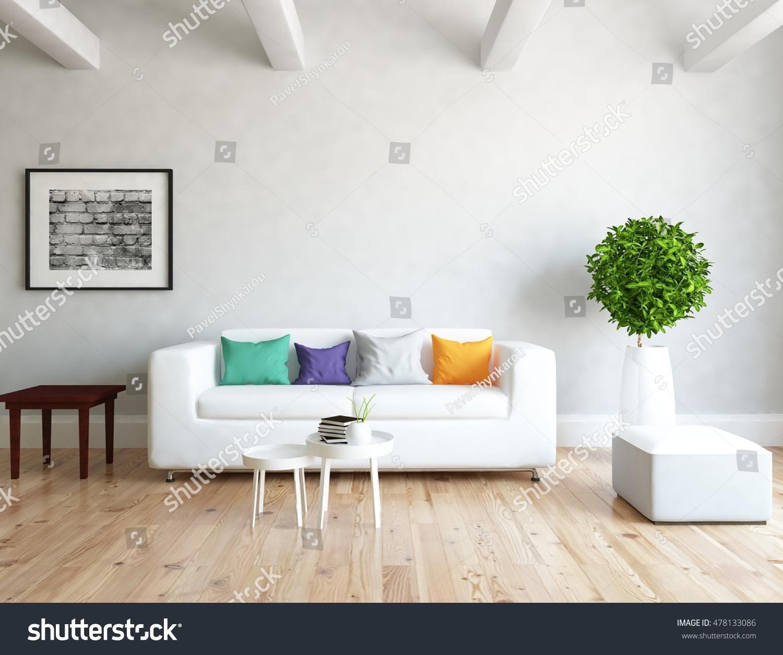 White room sofa living room interior stock illustration for Living room interior white