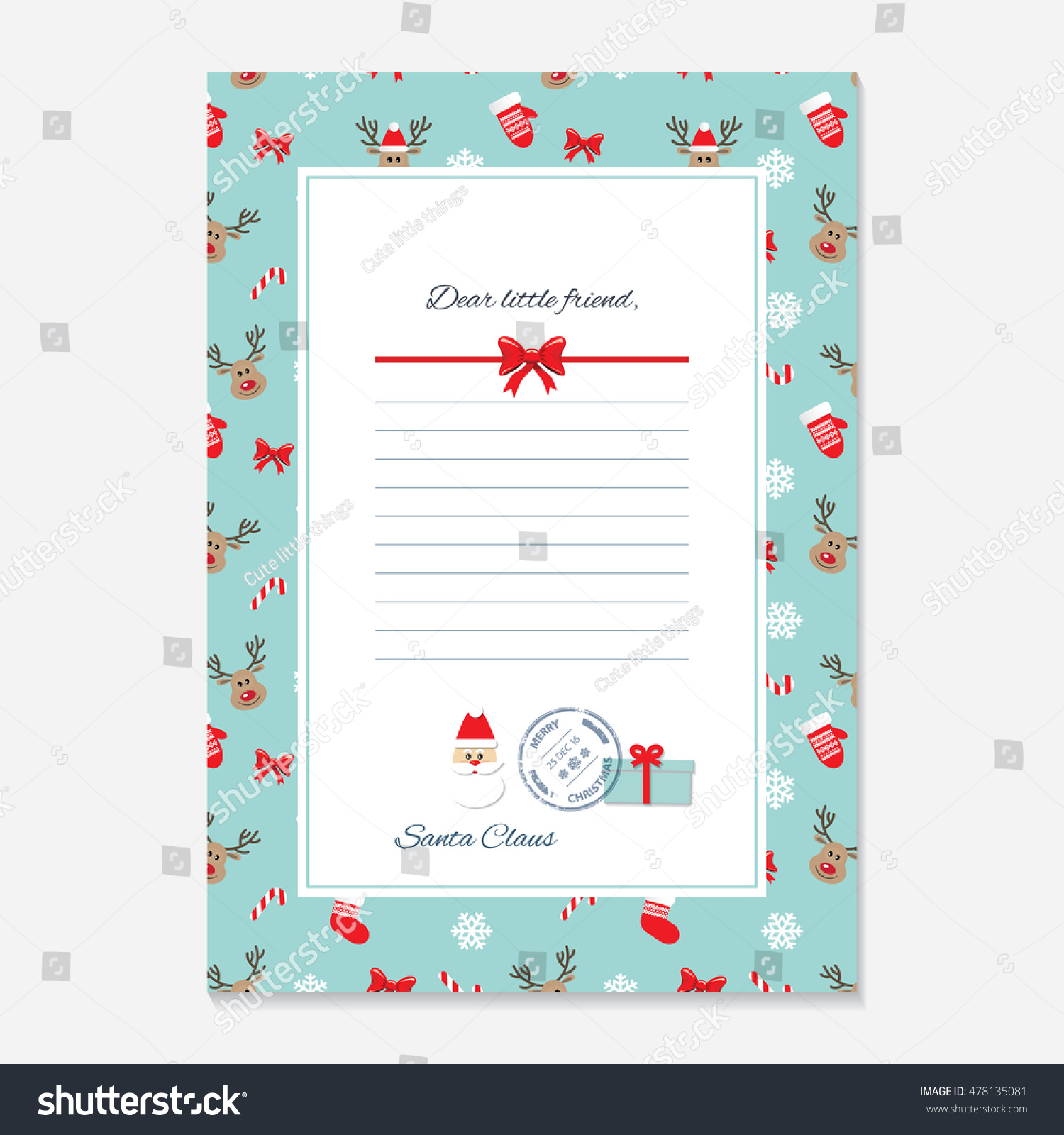 christmas letter santa claus template layout stock vector 478135081