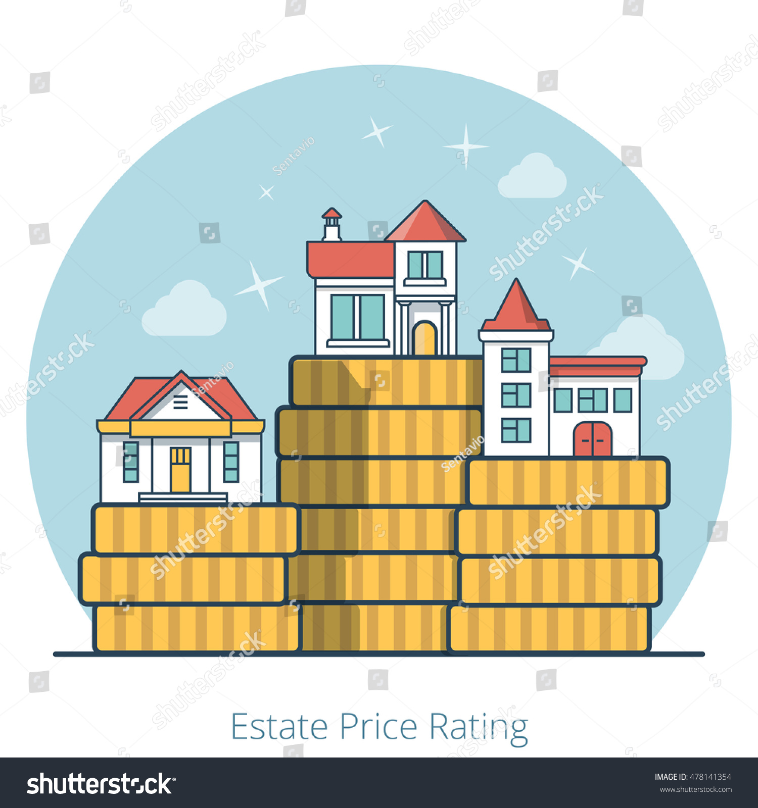 linear flat houses on top huge stock vector 478141354 - shutterstock