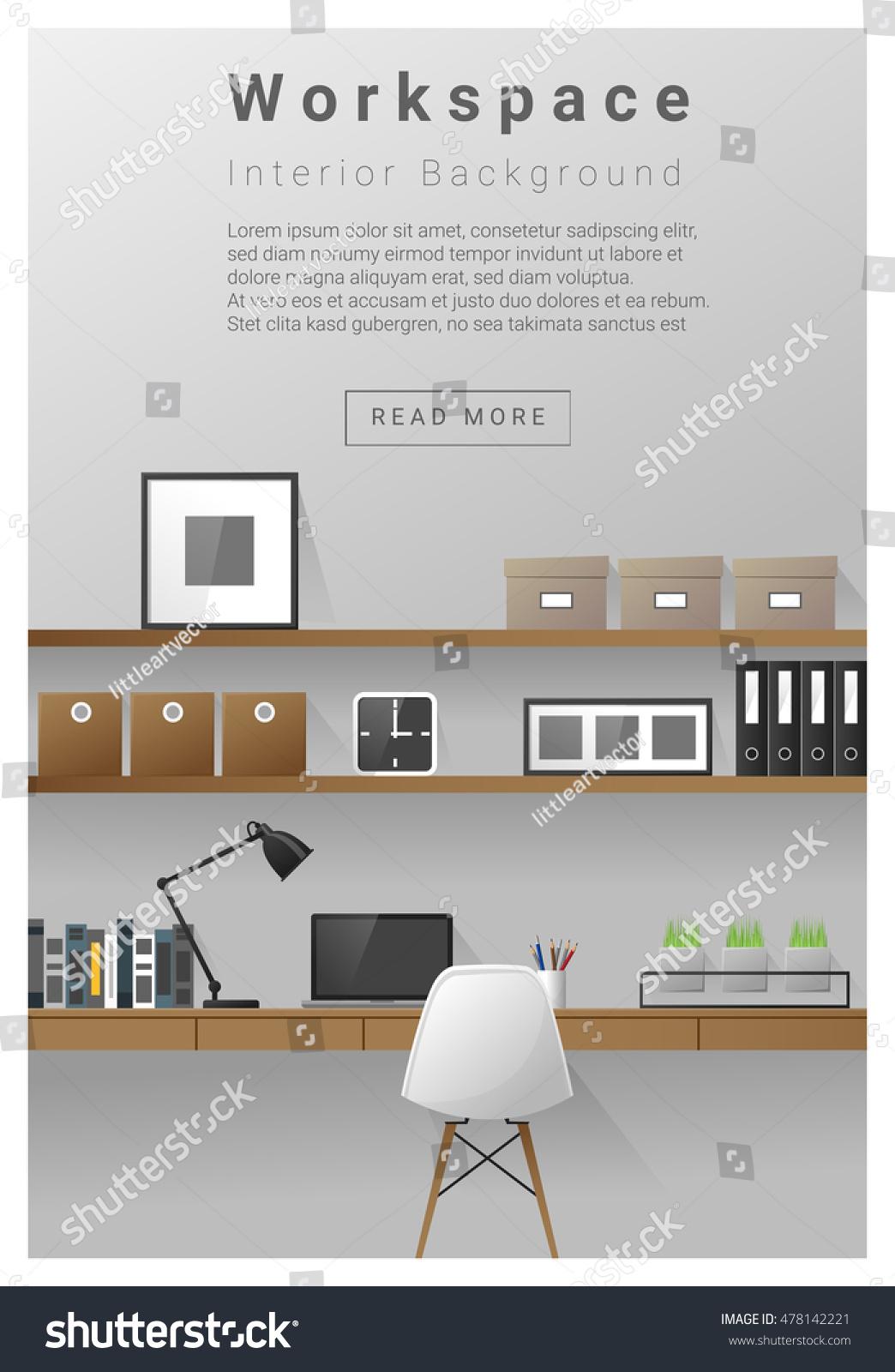 Interior design modern workspace banner vector stock for Interior design banner images
