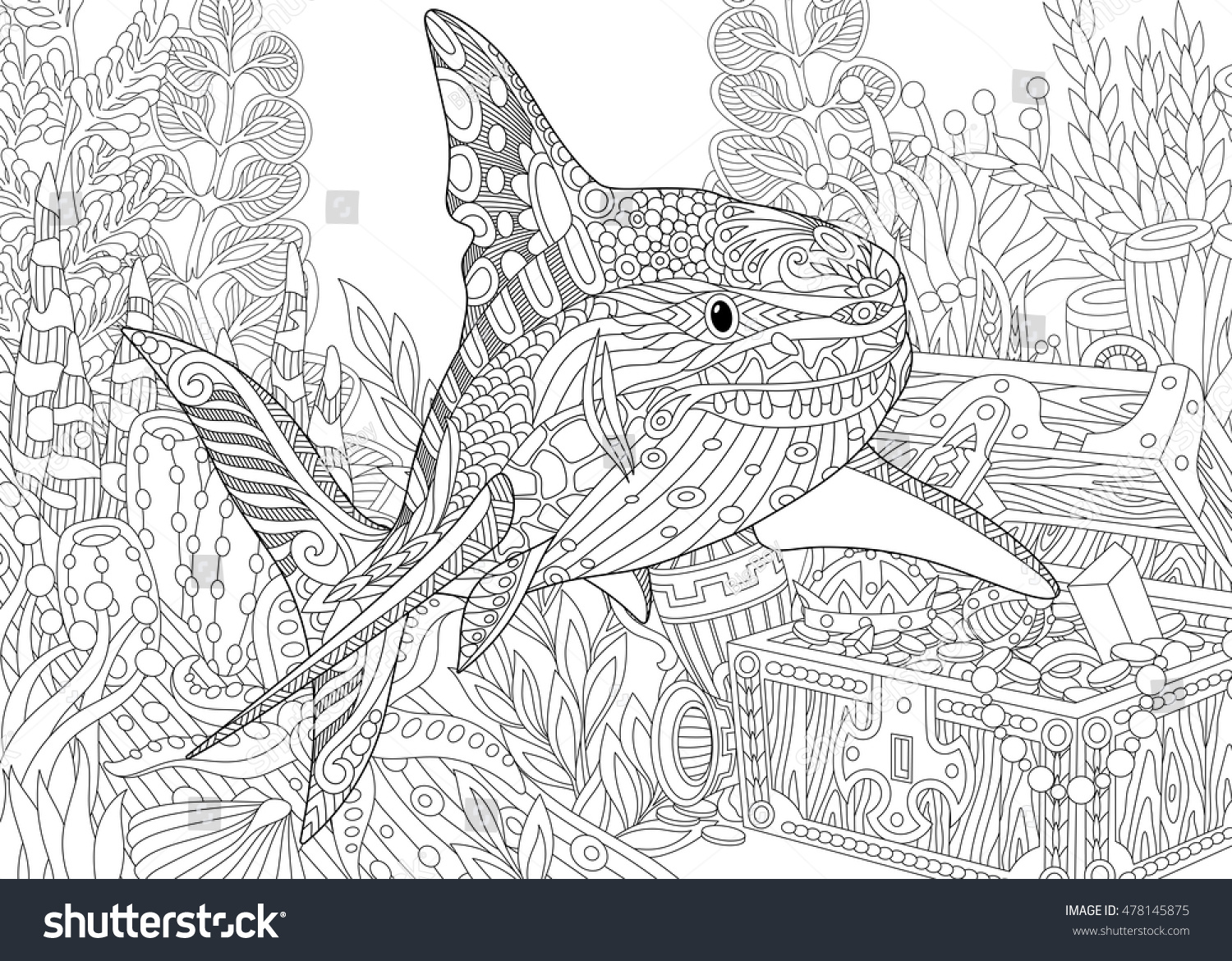 stylized underwater composition shark seaweed corals stock vector