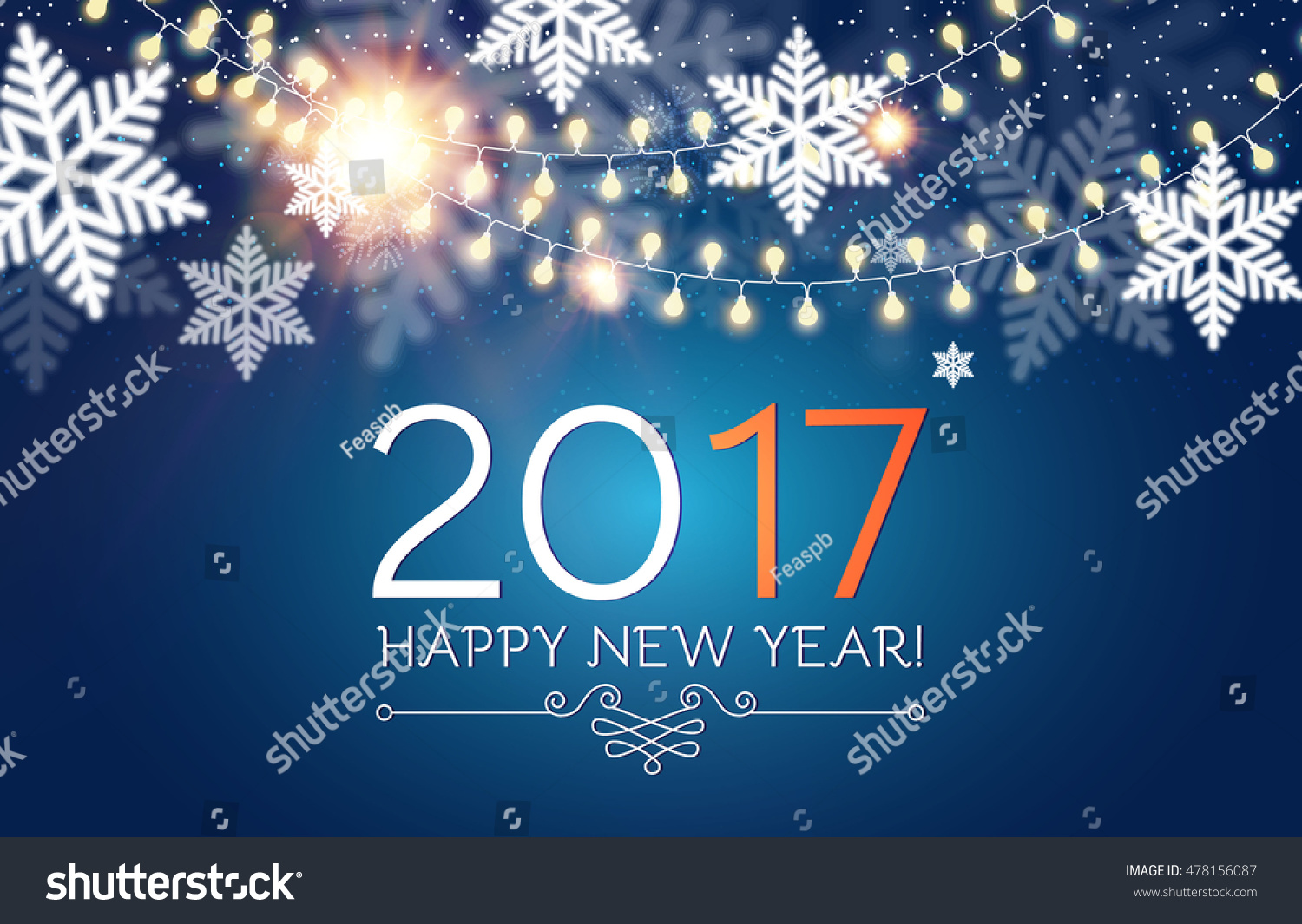 Happy new 2017 year seasons greetings stock vector 478156087 happy new 2017 year seasons greetings snowflakes ans light garlands colorful winter background kristyandbryce Choice Image