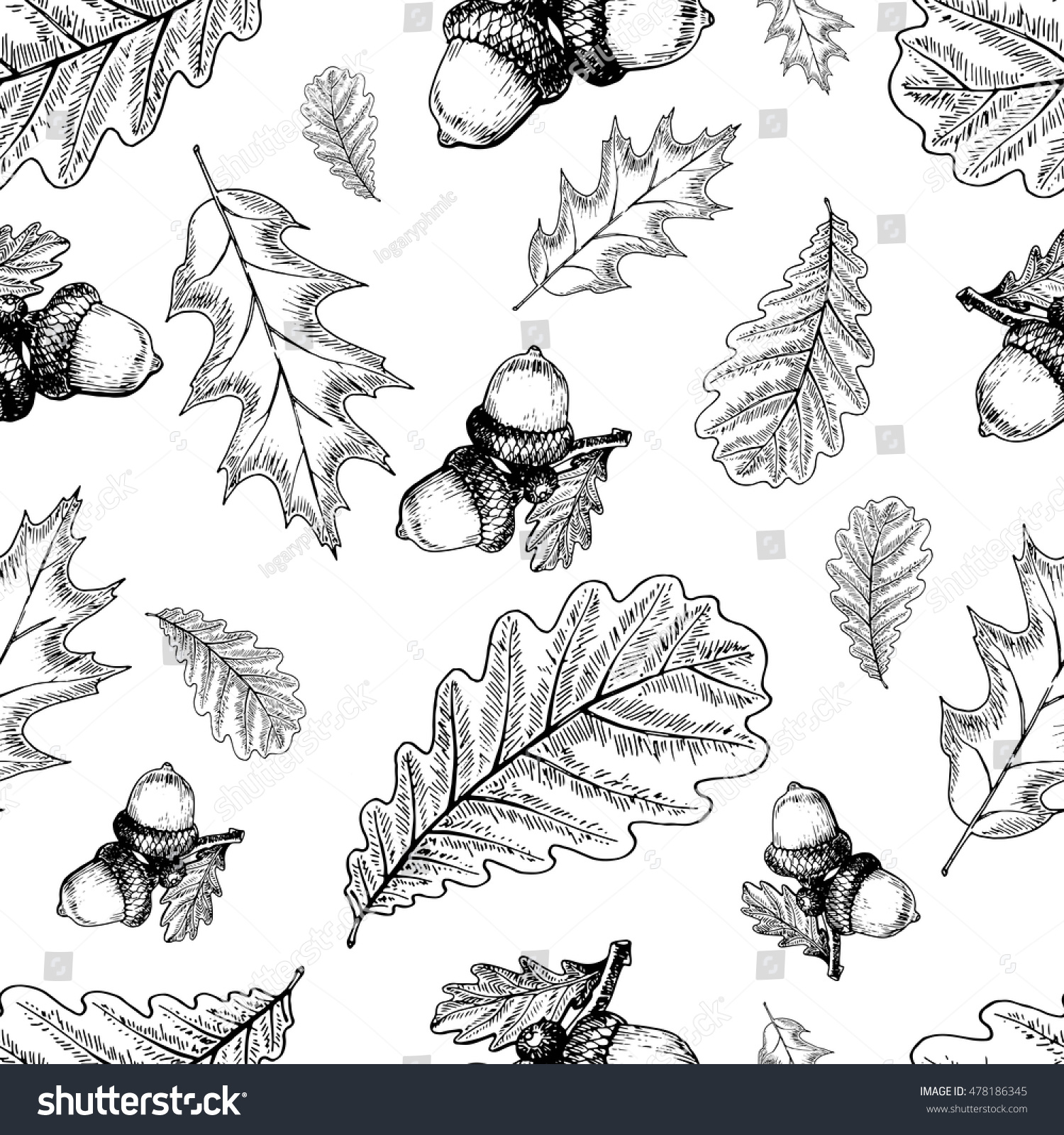 vector seamless pattern oak leaves acorns stock vector 478186345