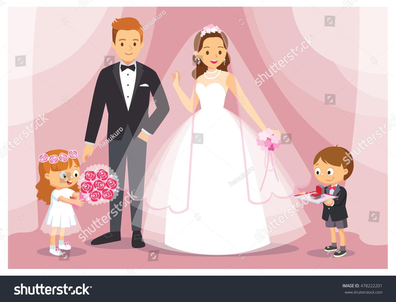 Vector Illustration Wedding Bride Groom Boy Stock Vector (2018 ...