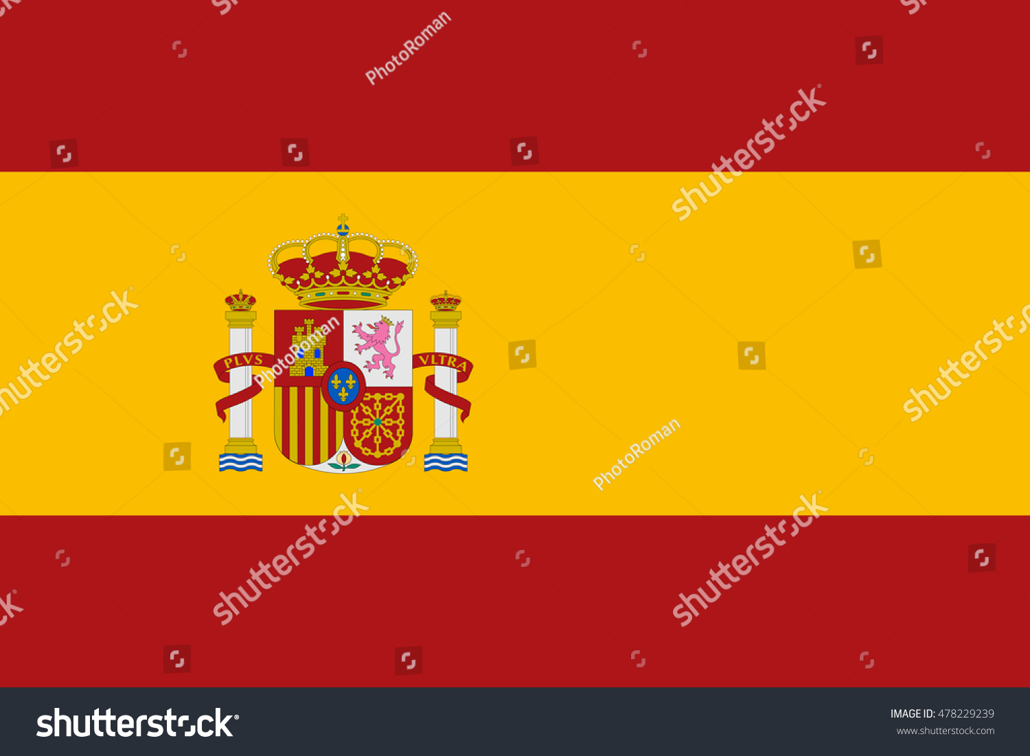 flag spain correct size proportions colors stock vector 478229239
