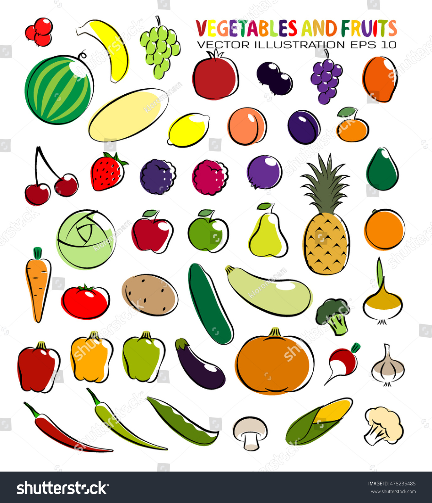 set simple images fruit vegetables stock vector 478235485