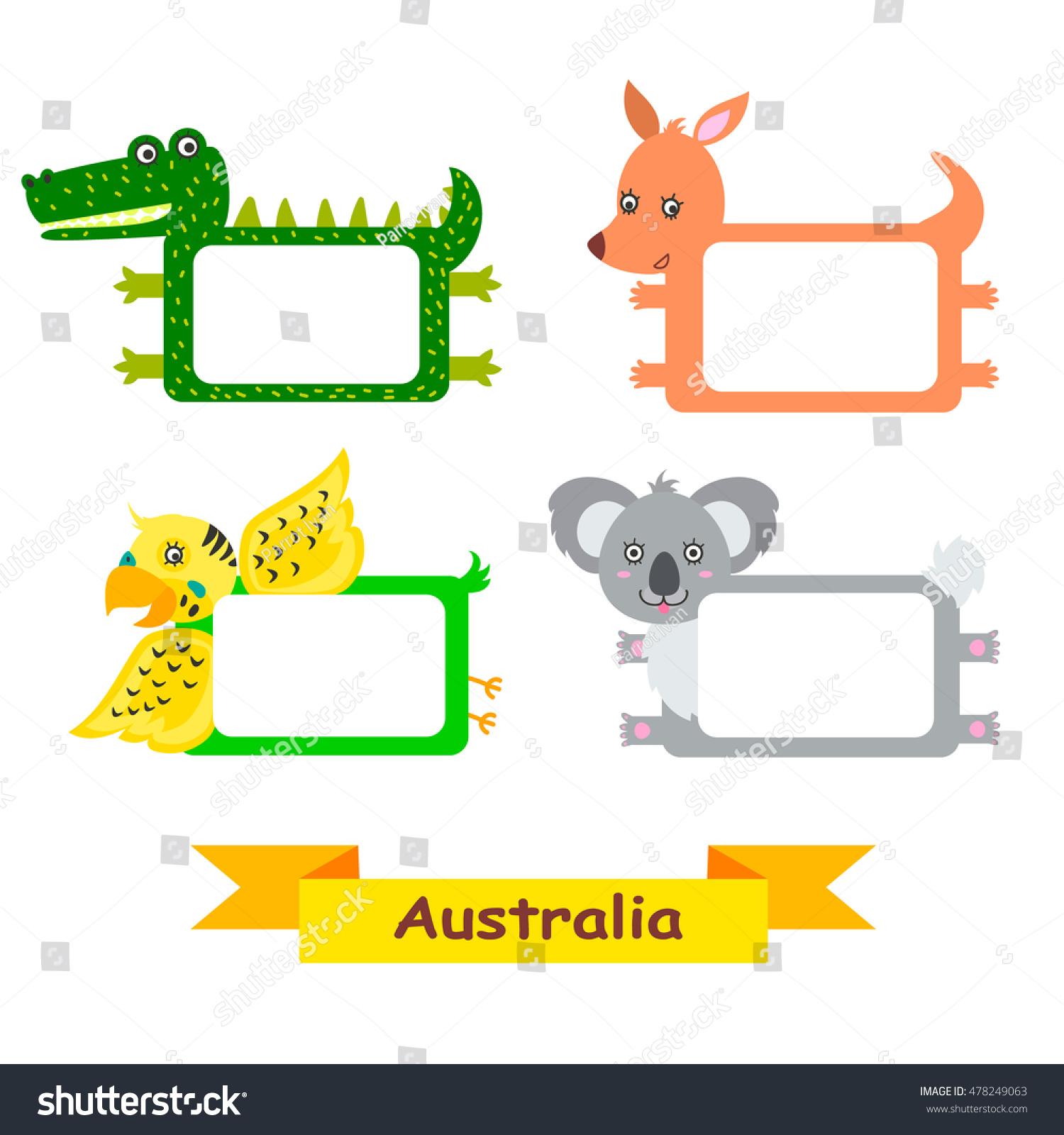 Cute Animal Set Exotic Australian Animal Stock Vector 478249063 ...