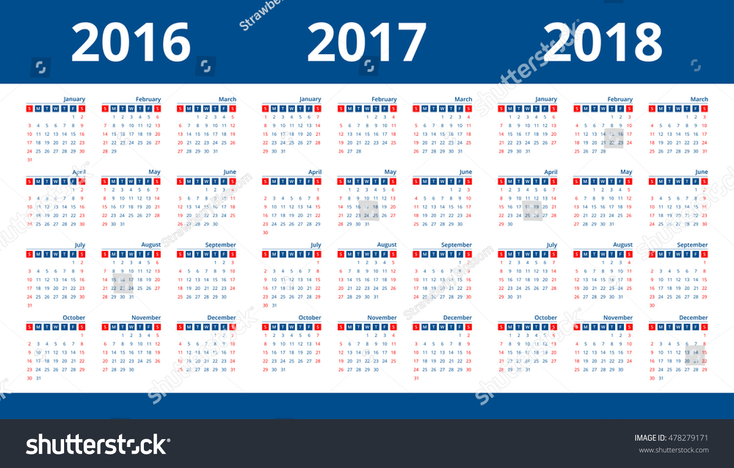 calendar 2017 2018 2016 layout template stock vector royalty free