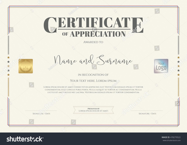 Certificate appreciation template watermark background stock certificate of appreciation template with watermark background yadclub Images