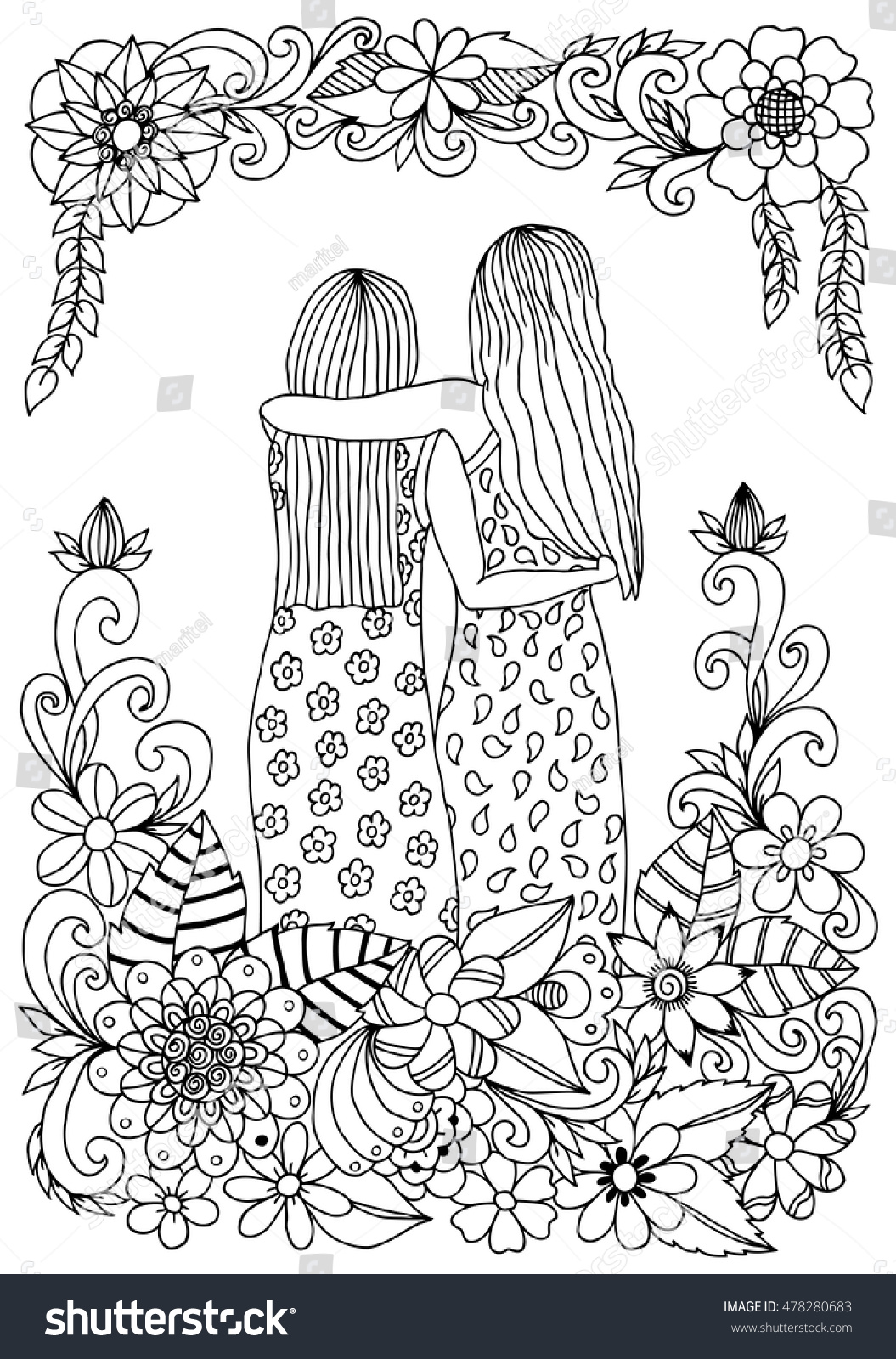Vector Illustration Zen Tangle Two Sisters Stock Vector (Royalty ...
