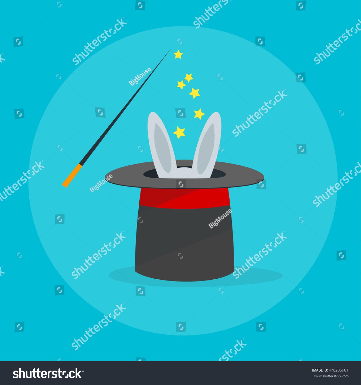 Rabbit Magic Hat Wand Flat Design Stock Vector 478285981 - Shutterstock
