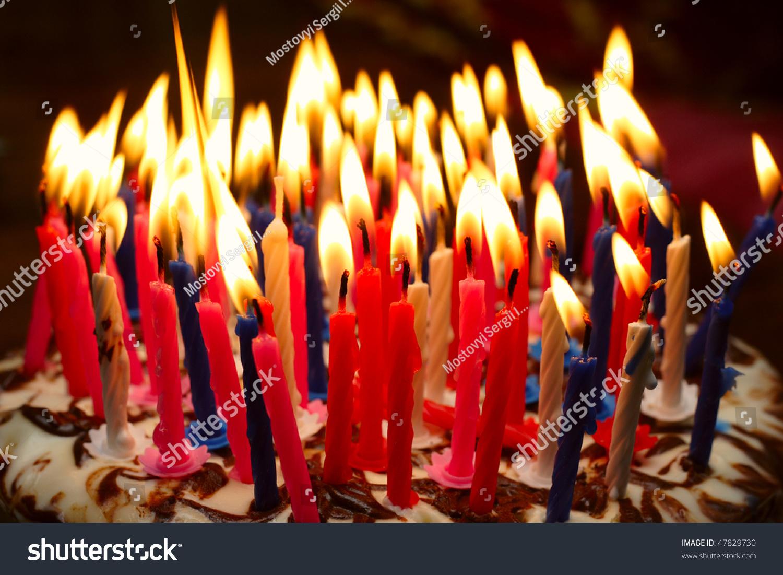 Birthday Cake Burning Candles Stock Photo Royalty Free 47829730