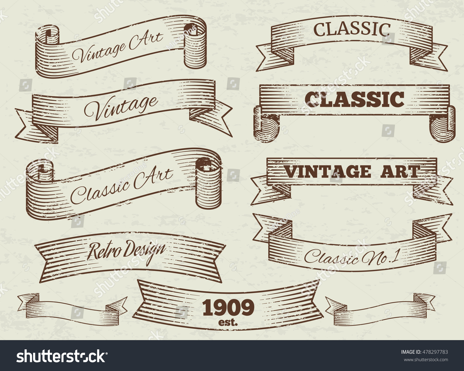 Vector Vintage Labels Banners Collection Classic Stock ...