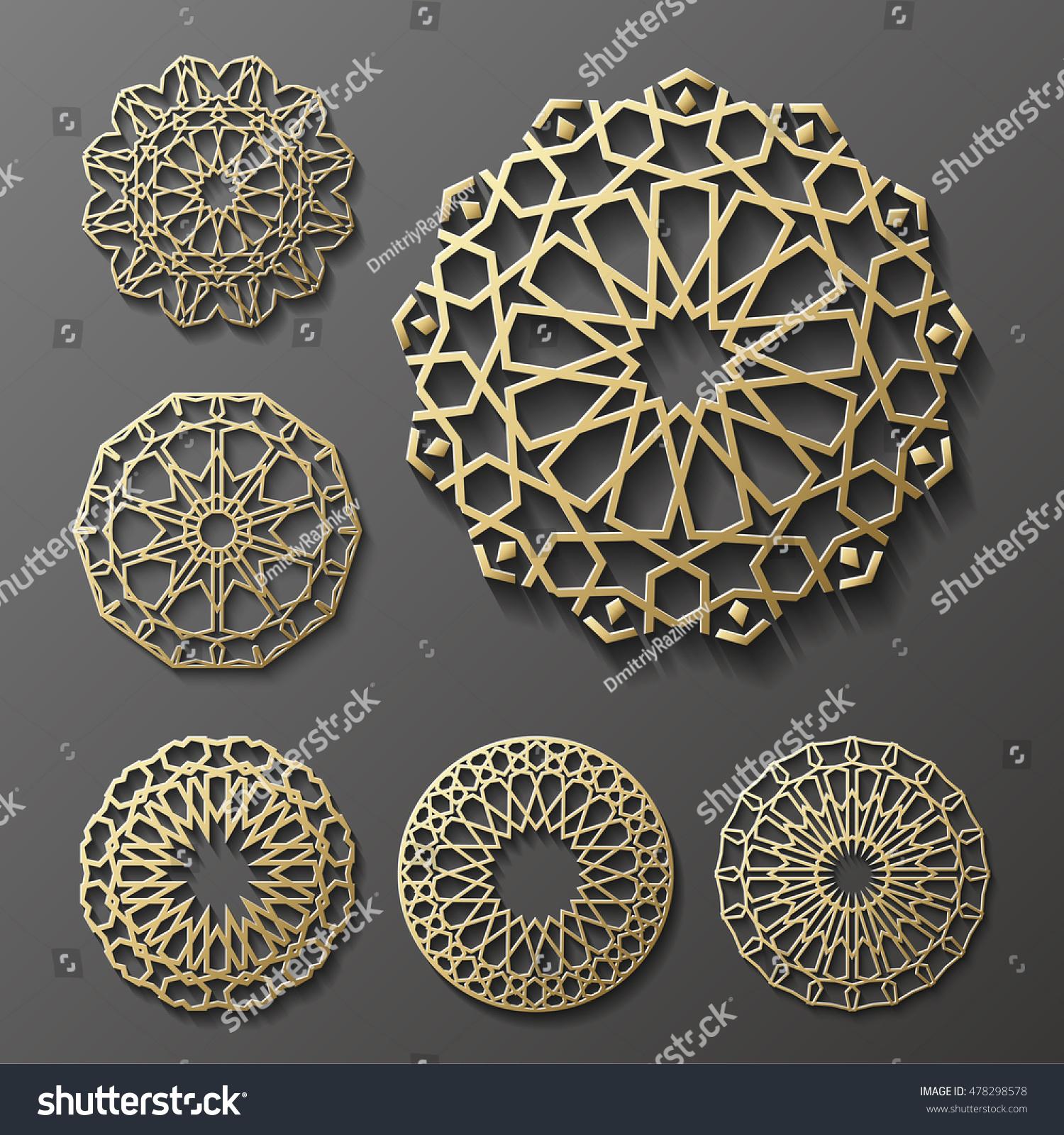 Islamic Ornament Vector Persian Motiff 3d Stock Vector