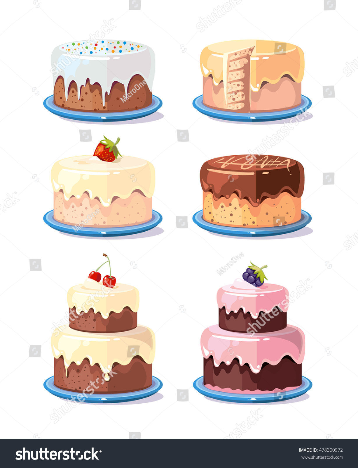 Cream Cake Tasty Cakes Vector Set Stock Vector Royalty Free