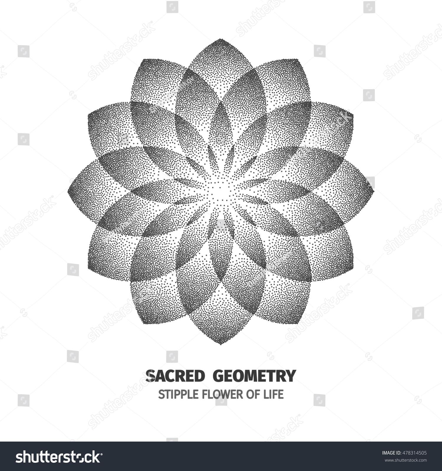 flower life isolated dotted sign pointillism stock vektorgrafik 478314505 shutterstock. Black Bedroom Furniture Sets. Home Design Ideas