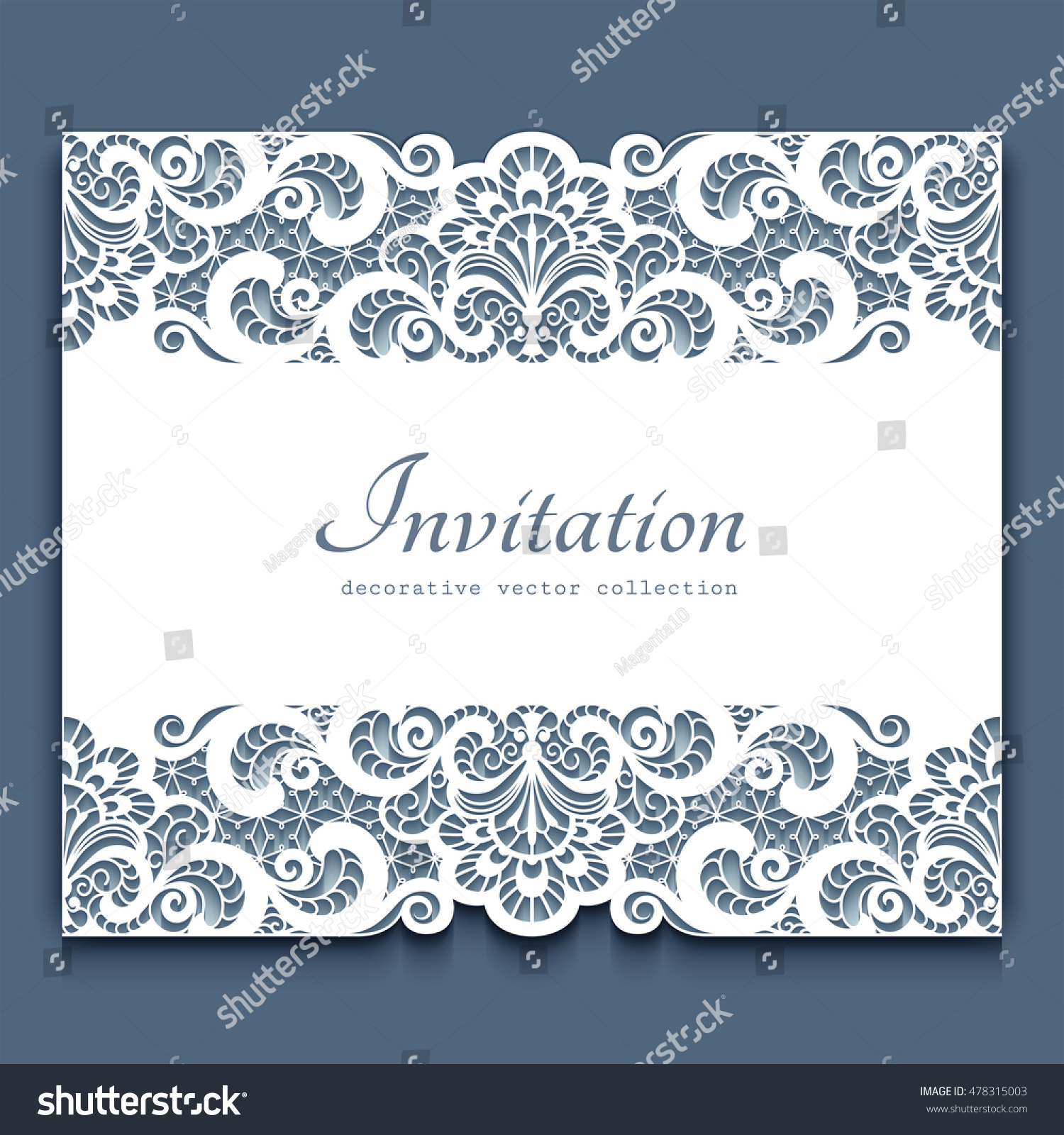 elegant cutout paper frame lace border stock vector