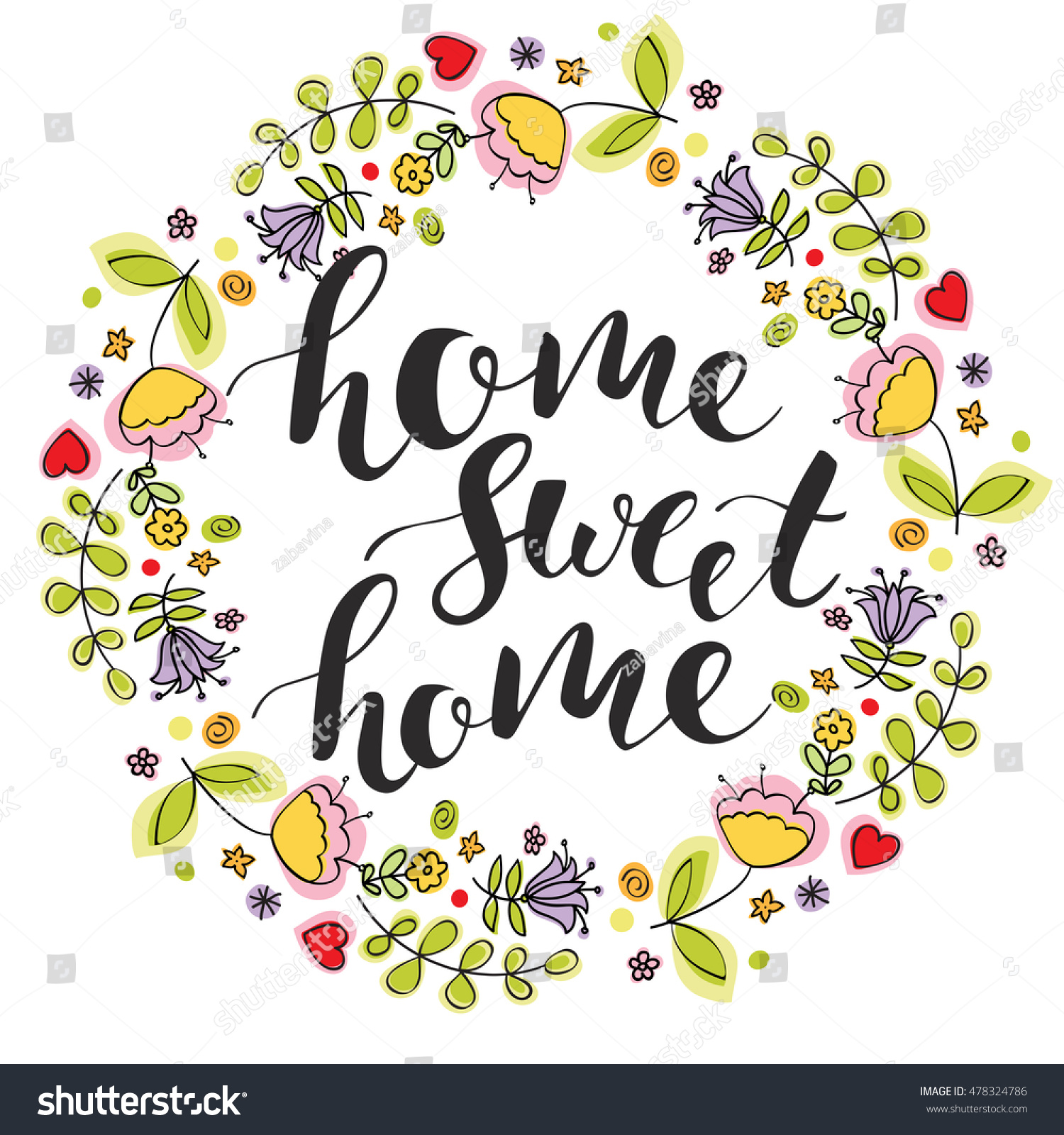 Home Sweet Home Lettering Colorful Flowers Stock Vector HD (Royalty ...