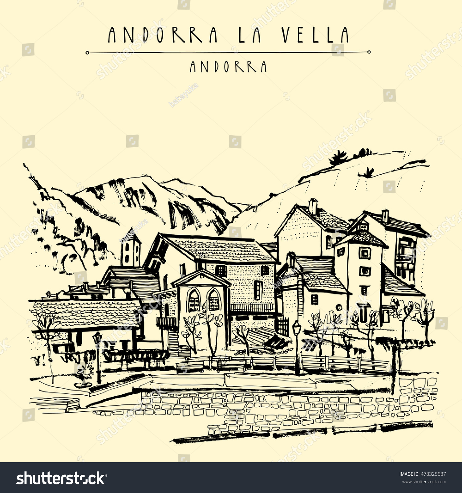 Andorra la vella capital andorra europe stock vector 478325587 andorra la vella capital of andorra europe cozy european town in pyrenees sciox Choice Image
