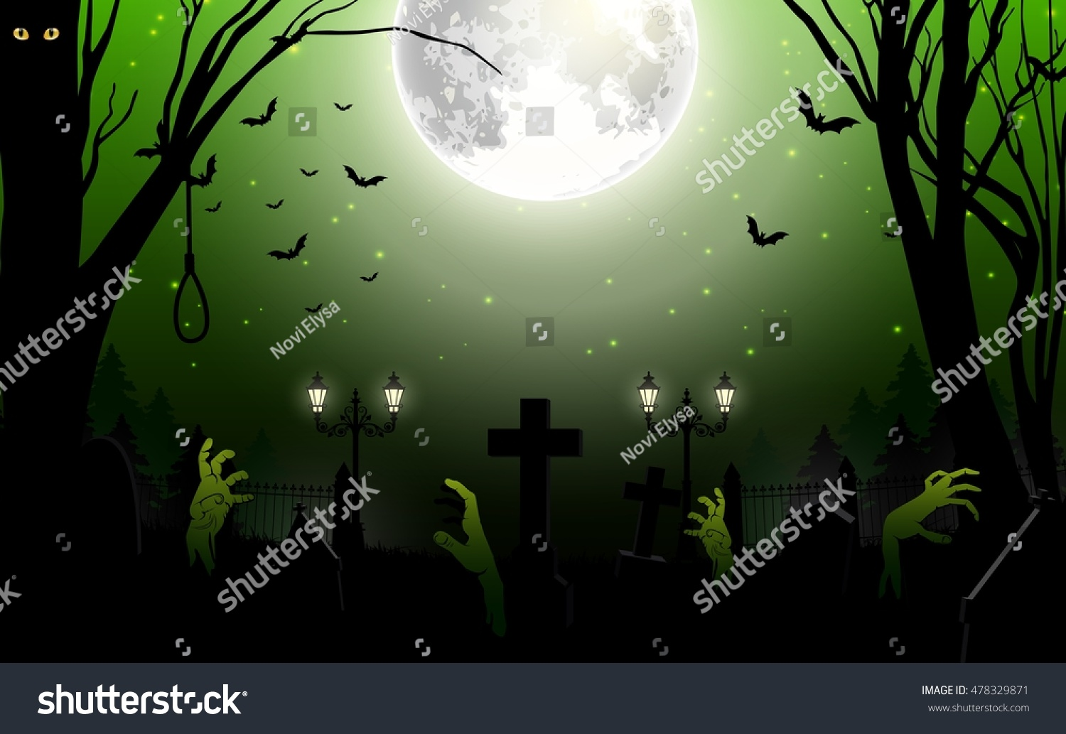 Halloween Zombie Party Theme On Green Background Vector Illustration