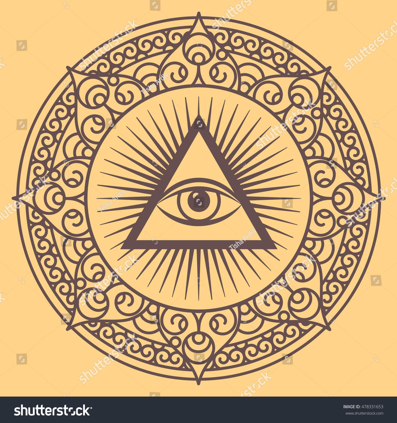 vector illustration occult sign third eye stock vector