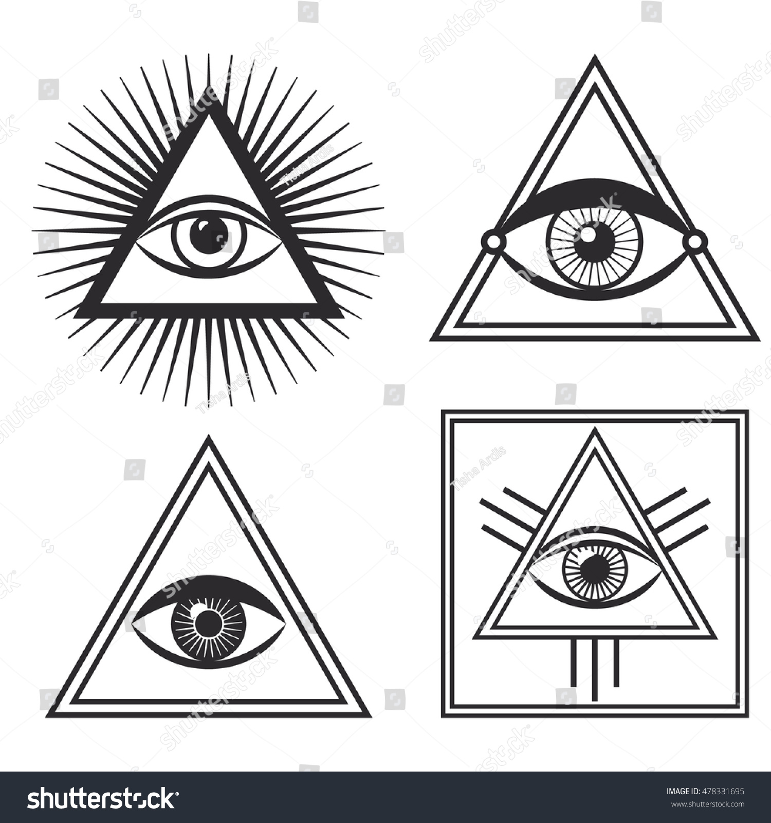 Royalty Free Vector Set Of Occult Sign Third Eye 478331695 Stock