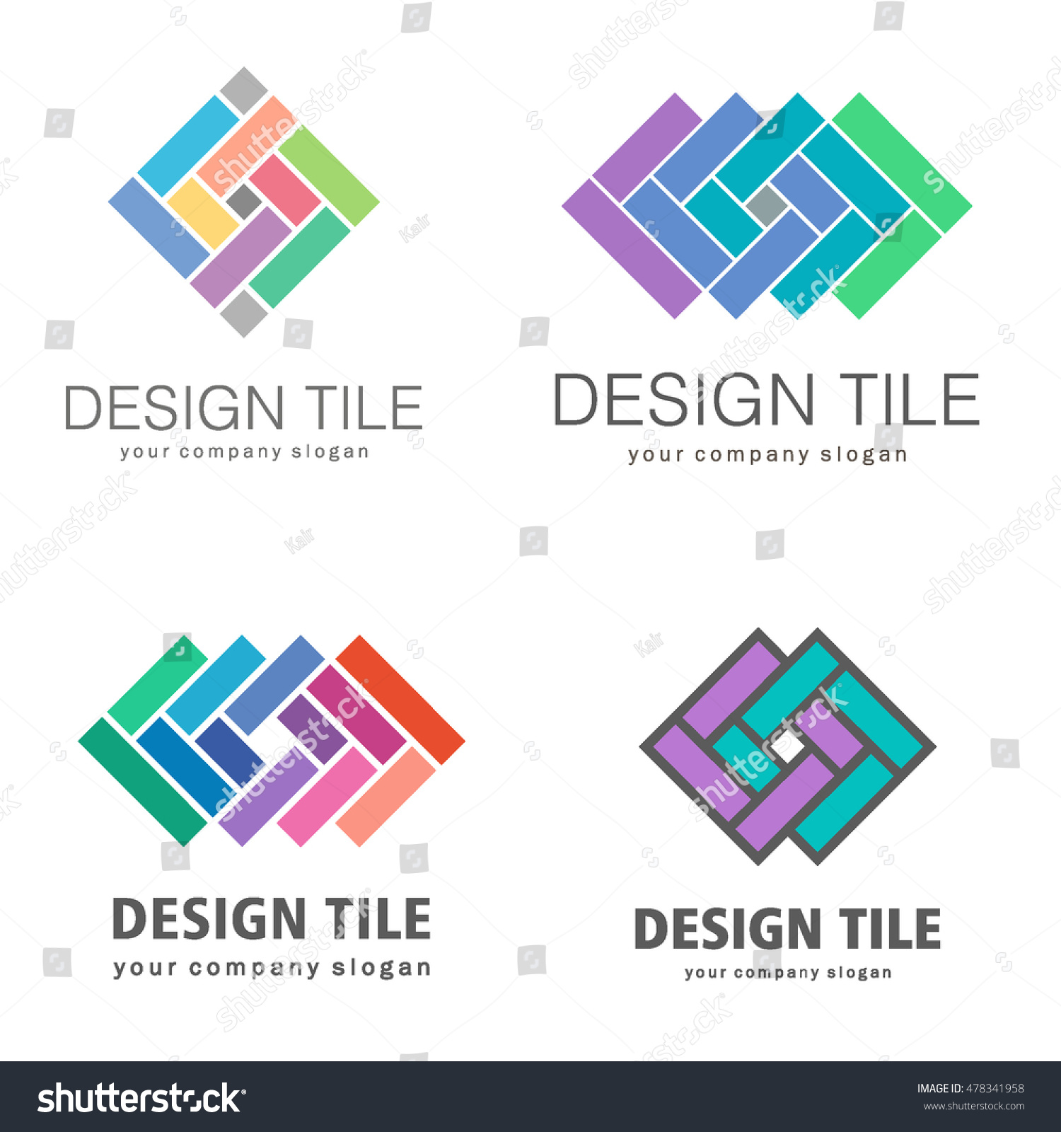 Set Logos Ceramic Tiles Design Tile Stock Vector Royalty Free