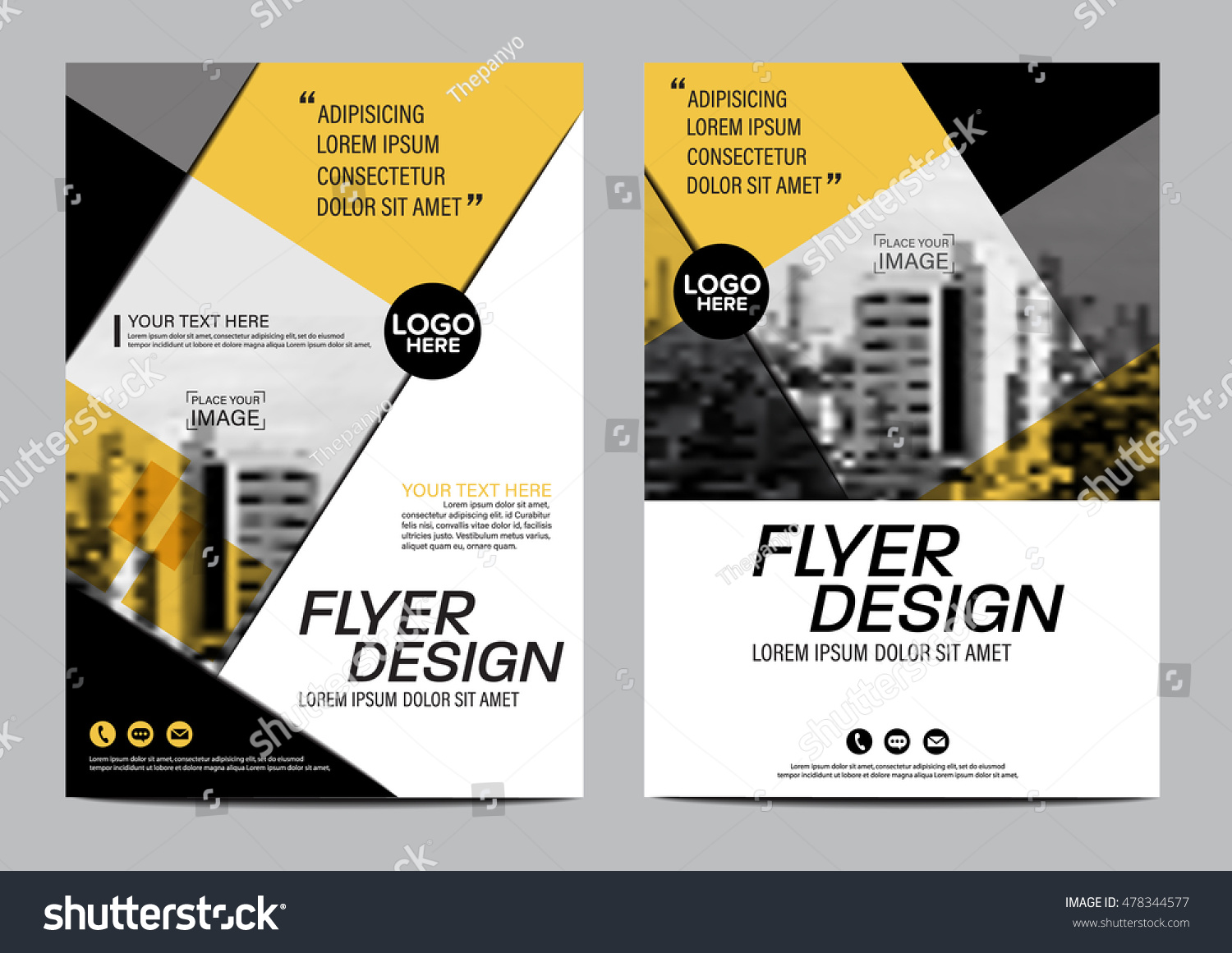 Yellow flat modern brochure layout design stock vector for Modern brochure design templates