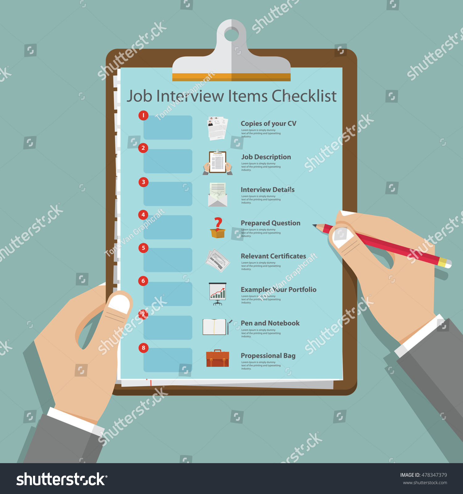 essential job interview icons flat design stock vector  essential job interview icons in flat design on clipboard job interview preparation infographic vector