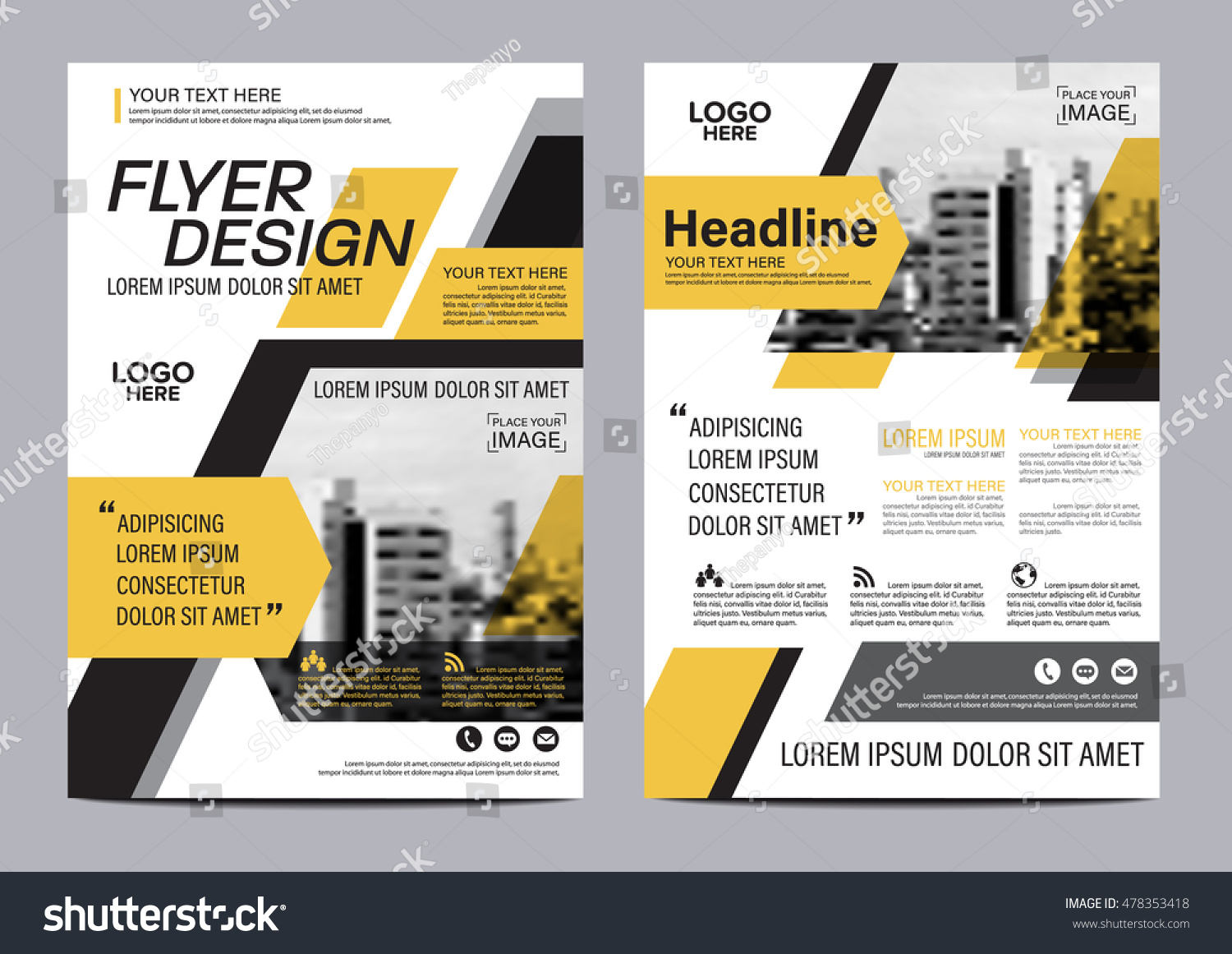 modern brochure design - yellow flat modern brochure layout design stock vector