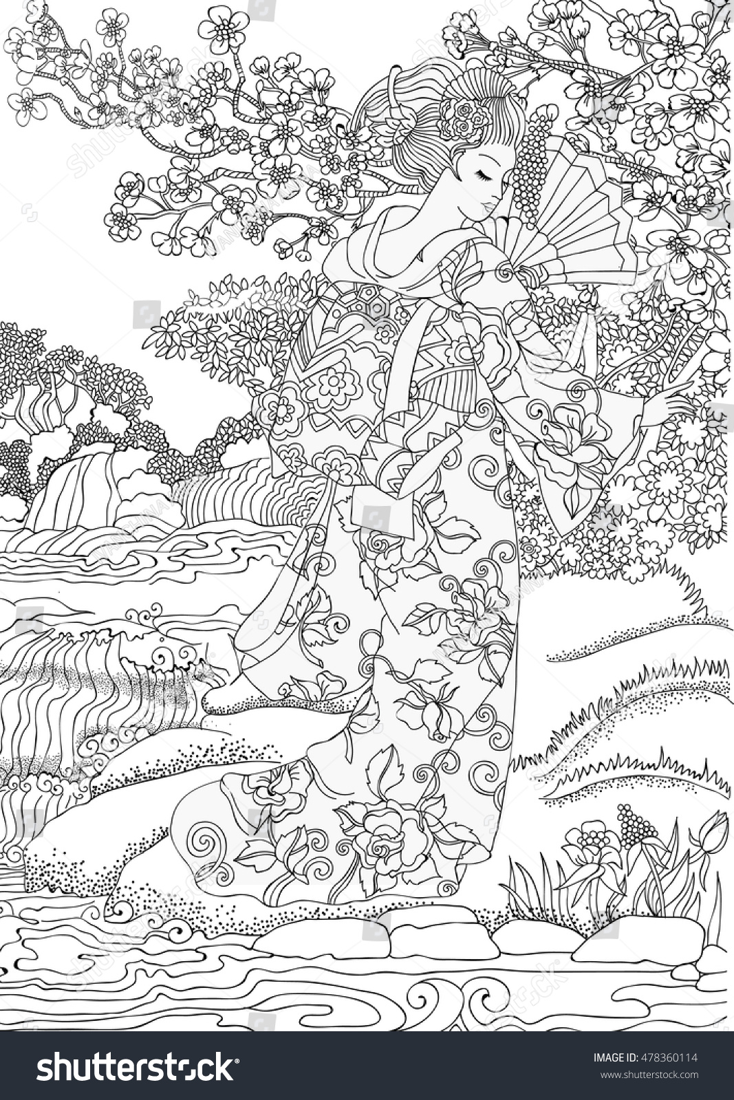 coloring pages beautiful japanese woman in national dress on the background of beautiful scenery - Beautiful Coloring Pages