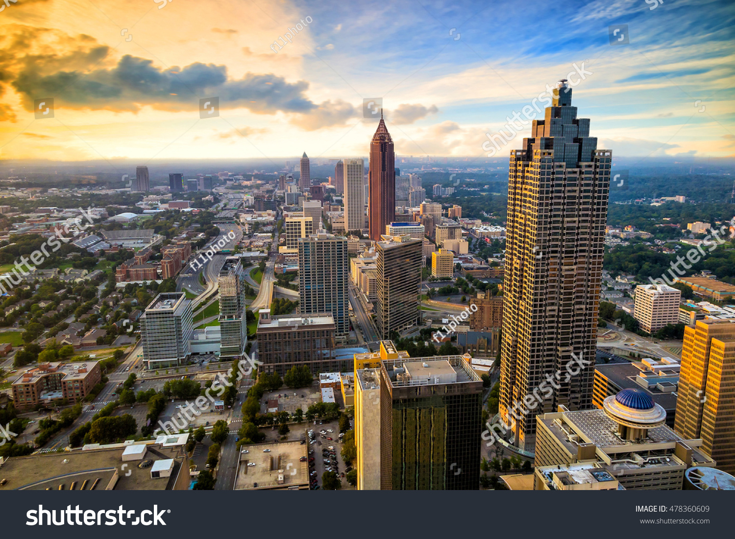 skyline downtown atlanta georgia usa stock photo 478360609 shutterstock. Black Bedroom Furniture Sets. Home Design Ideas