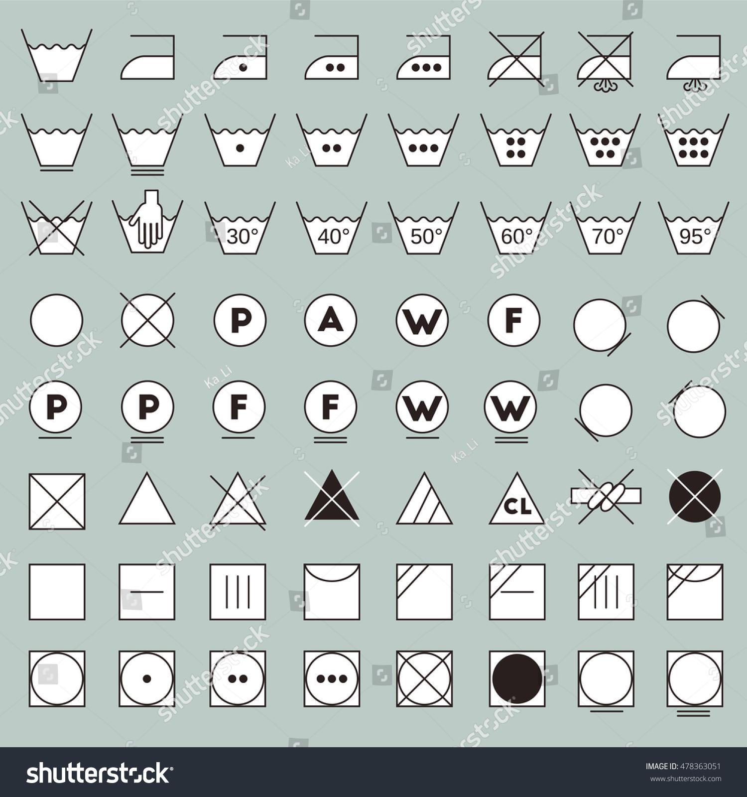 Laundry Symbols Line Design Washing Ironing Stock Vector Royalty