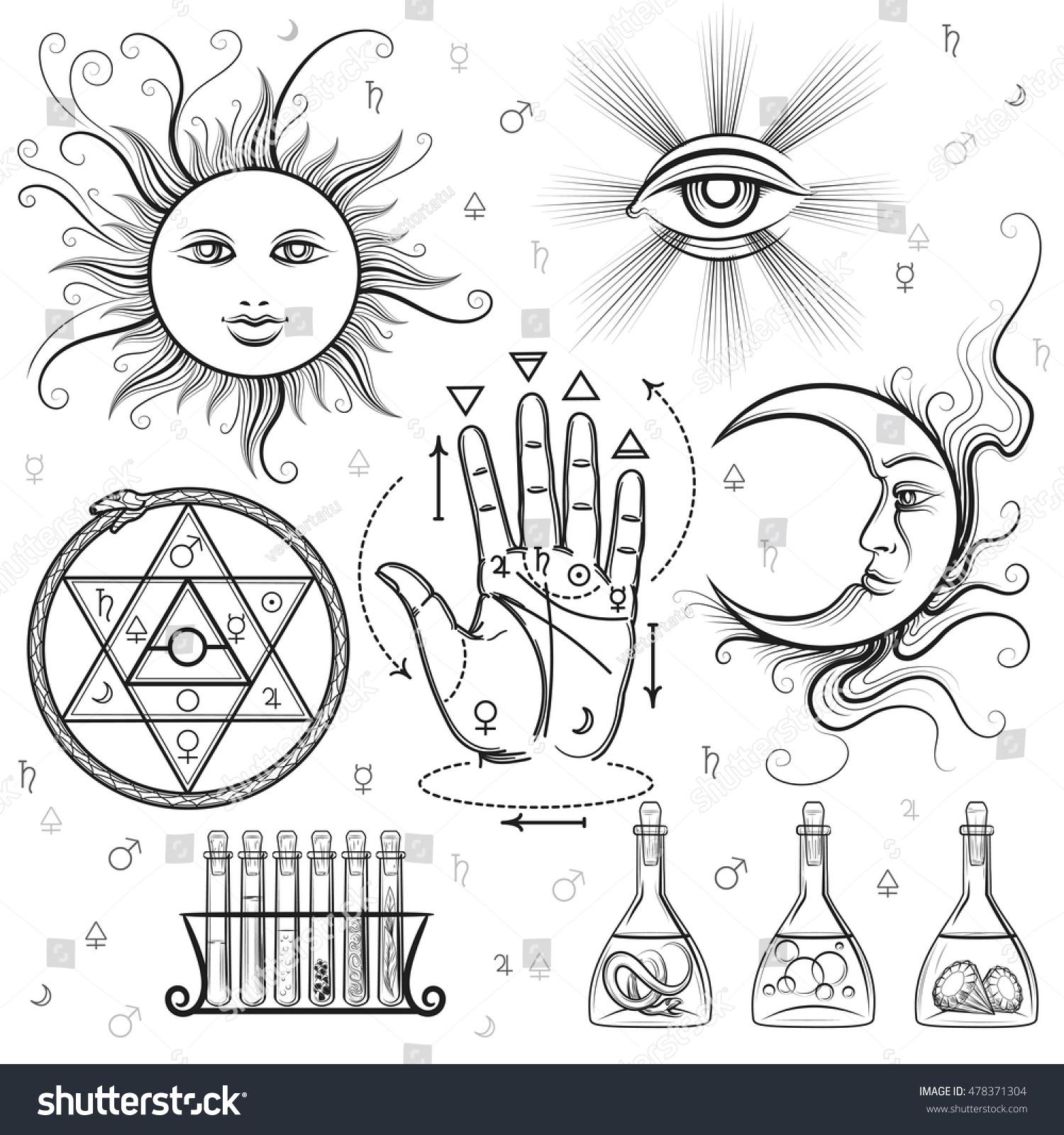 Esoteric Signs Vector Symbols Philosophy Alchemy Stock Vector