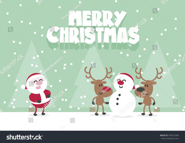 Merry Christmas Cute Santa Reindeer Snowman Stock Vector (Royalty ...