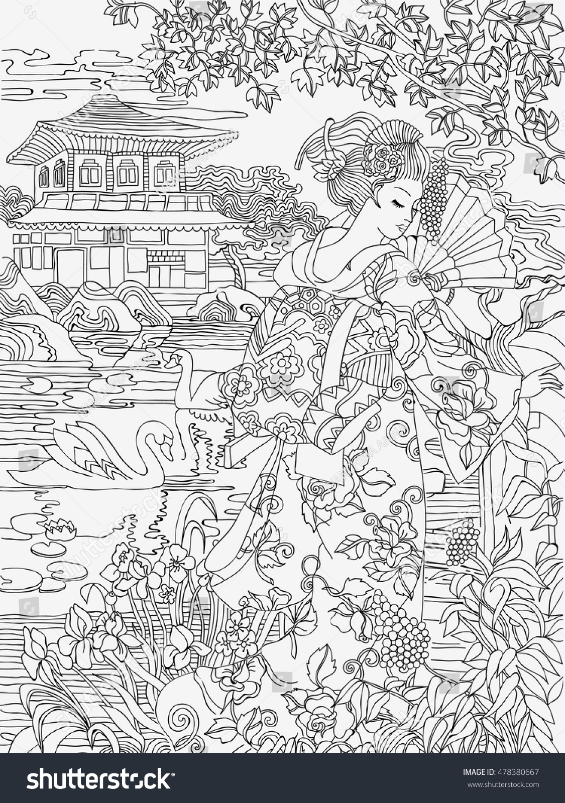 coloring pages japanese woman on background stock vector royalty