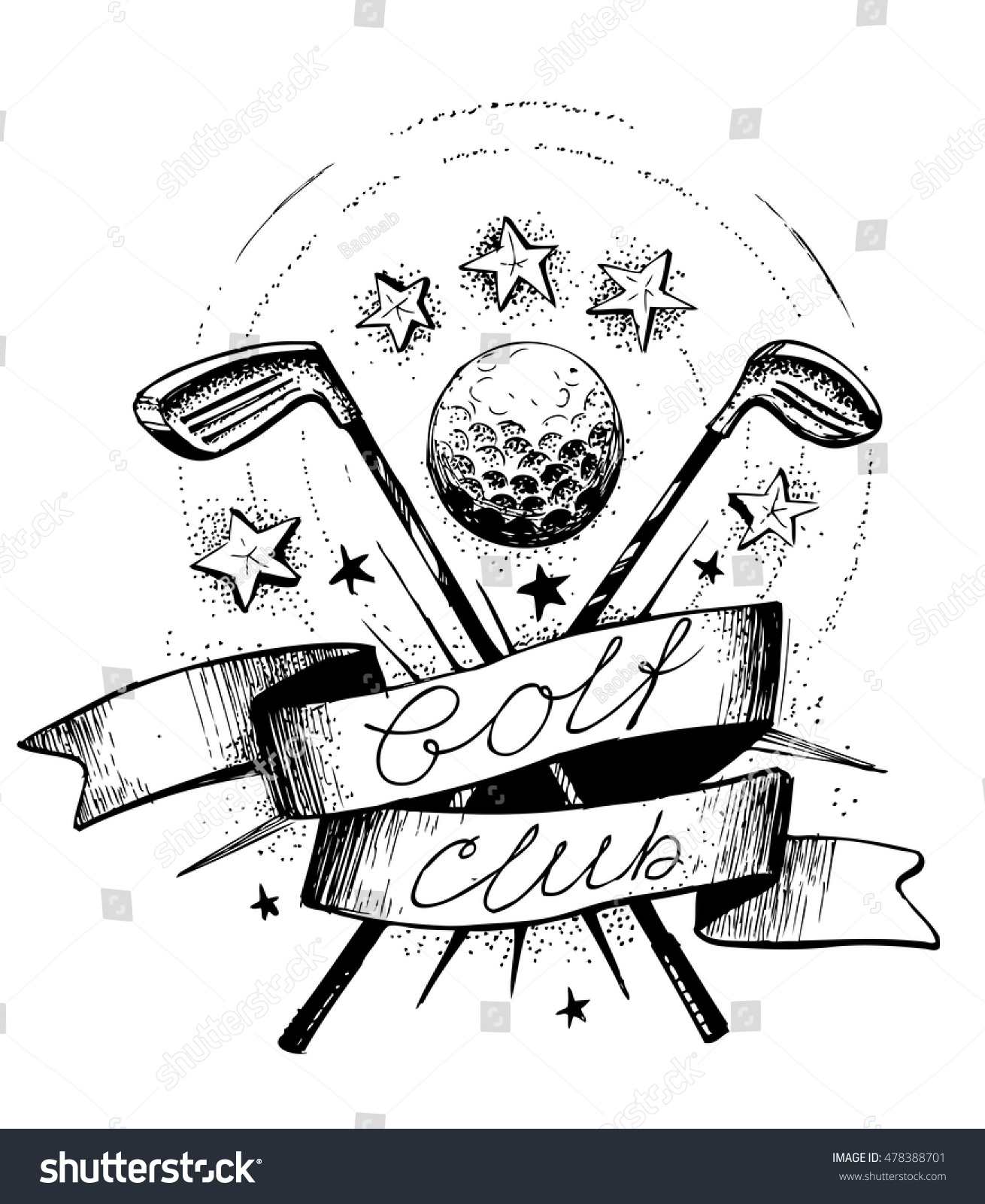 golf club emblem golf clubs ball stock vector 478388701 shutterstock. Black Bedroom Furniture Sets. Home Design Ideas
