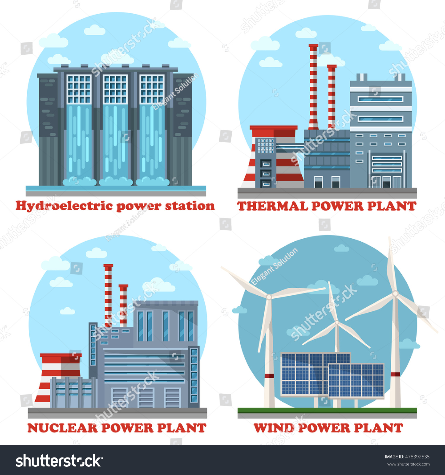 Plant Factory Energy Stations Buildings Water Stock Vector