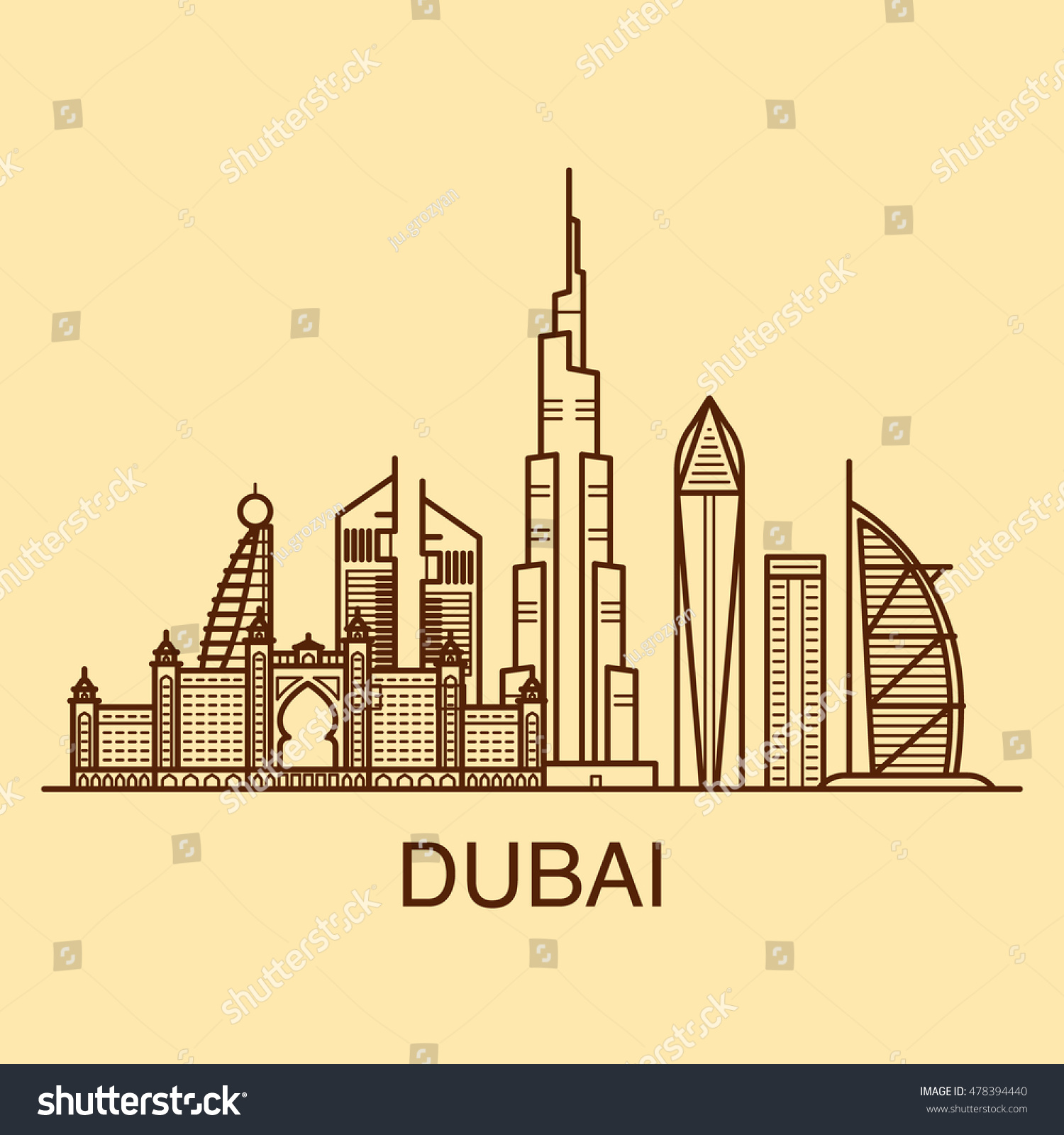 Art Line Uae : Famous buildings dubai line art ilustration stock vector