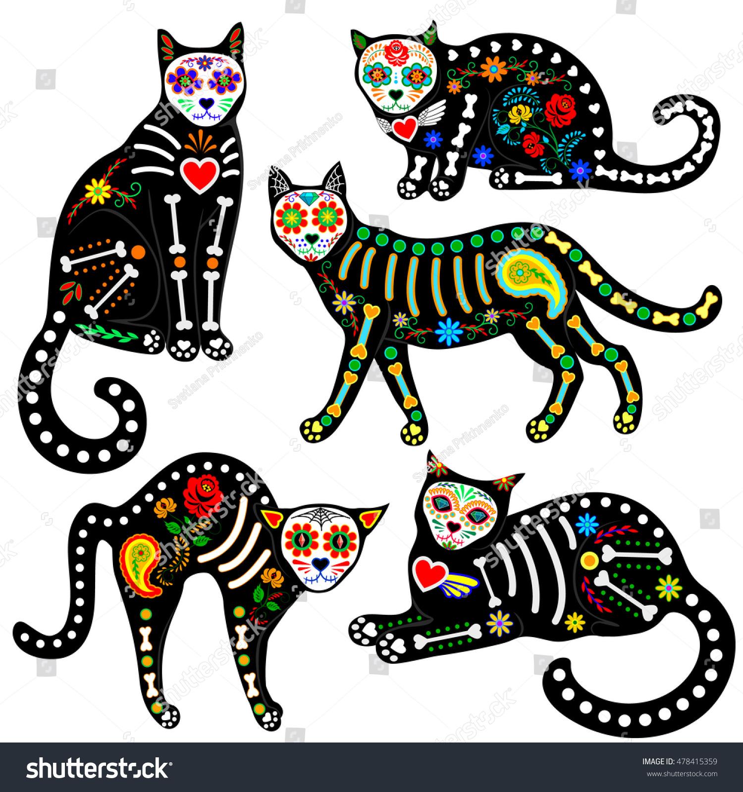 set calavera sugar skull black cats stock vector 478415359 shutterstock Lizard Skeleton Elephant Skeleton