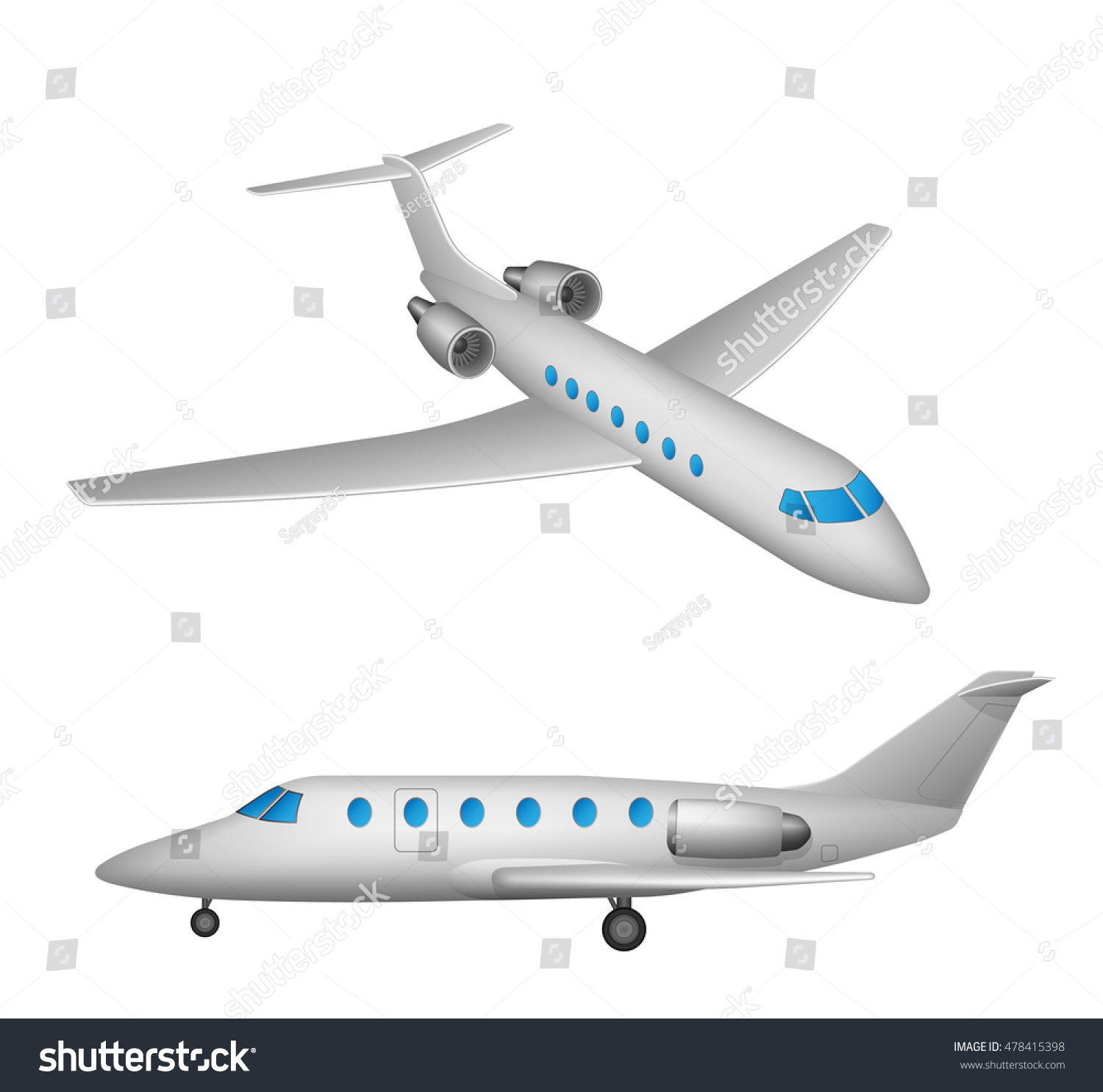 high detailed flying private airplane airline stock vector