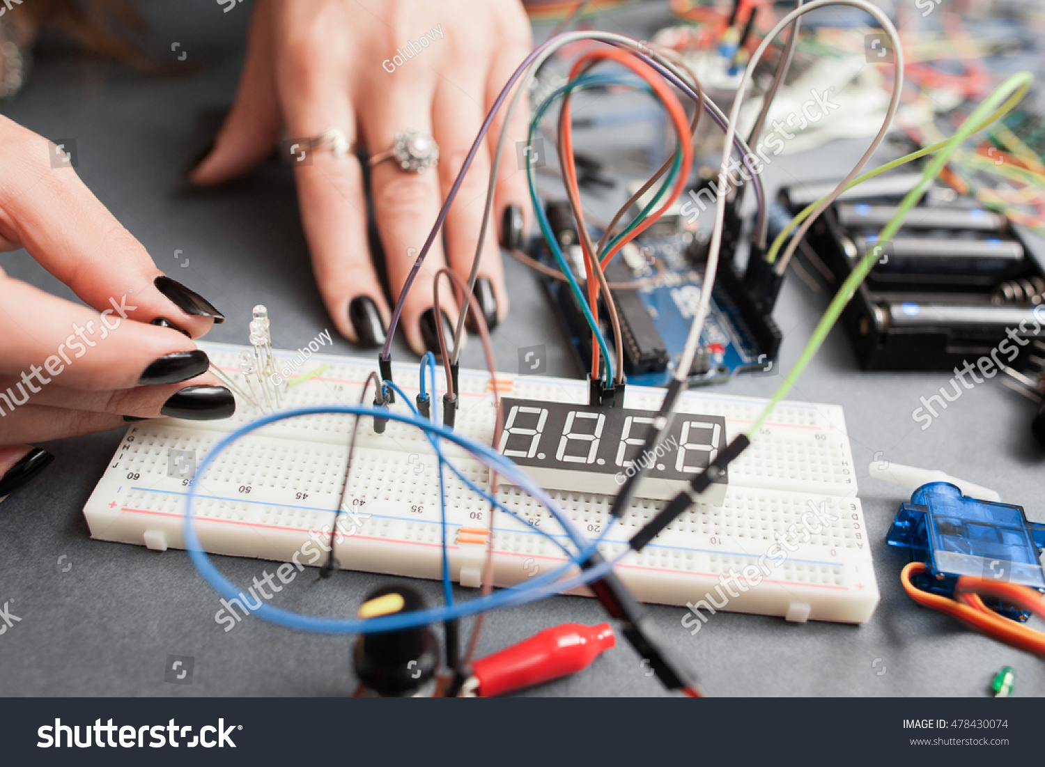 Woman Engineer Connecting Led Breadboard Electronics Stock Photo Hobby Electronic Circuits To Development Modern Technologies Innovation