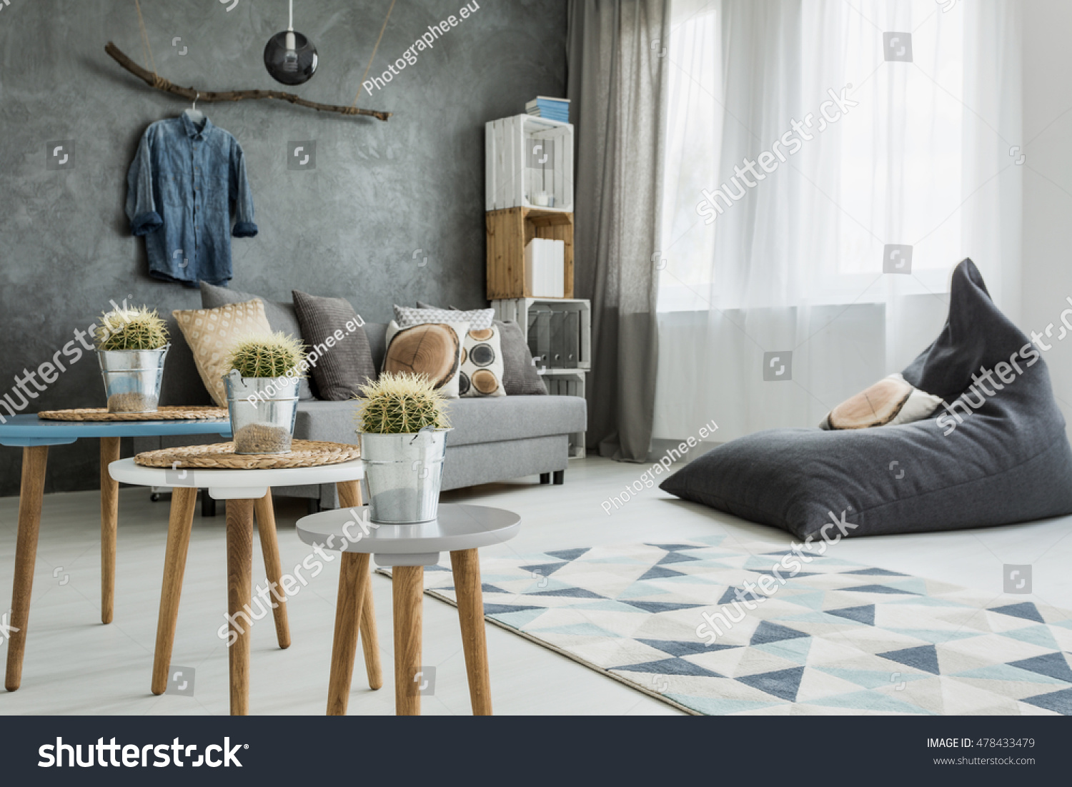 Modern Minimalistic And Bright Living Room In Shades Of Cyan With Sofa, Bean  Bag Chair Part 89