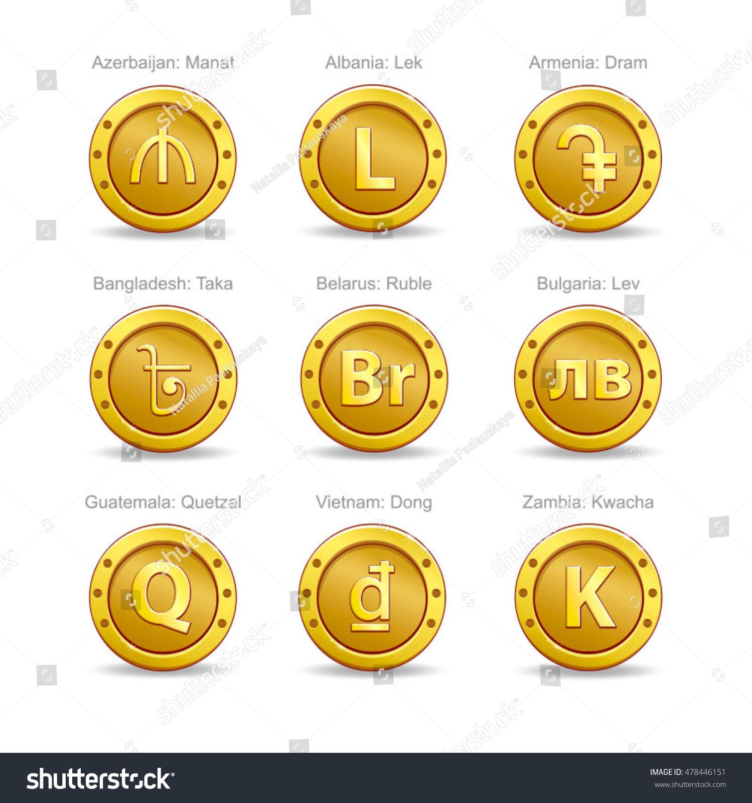 Set Coins Symbol Currency Stock Vector Royalty Free 478446151