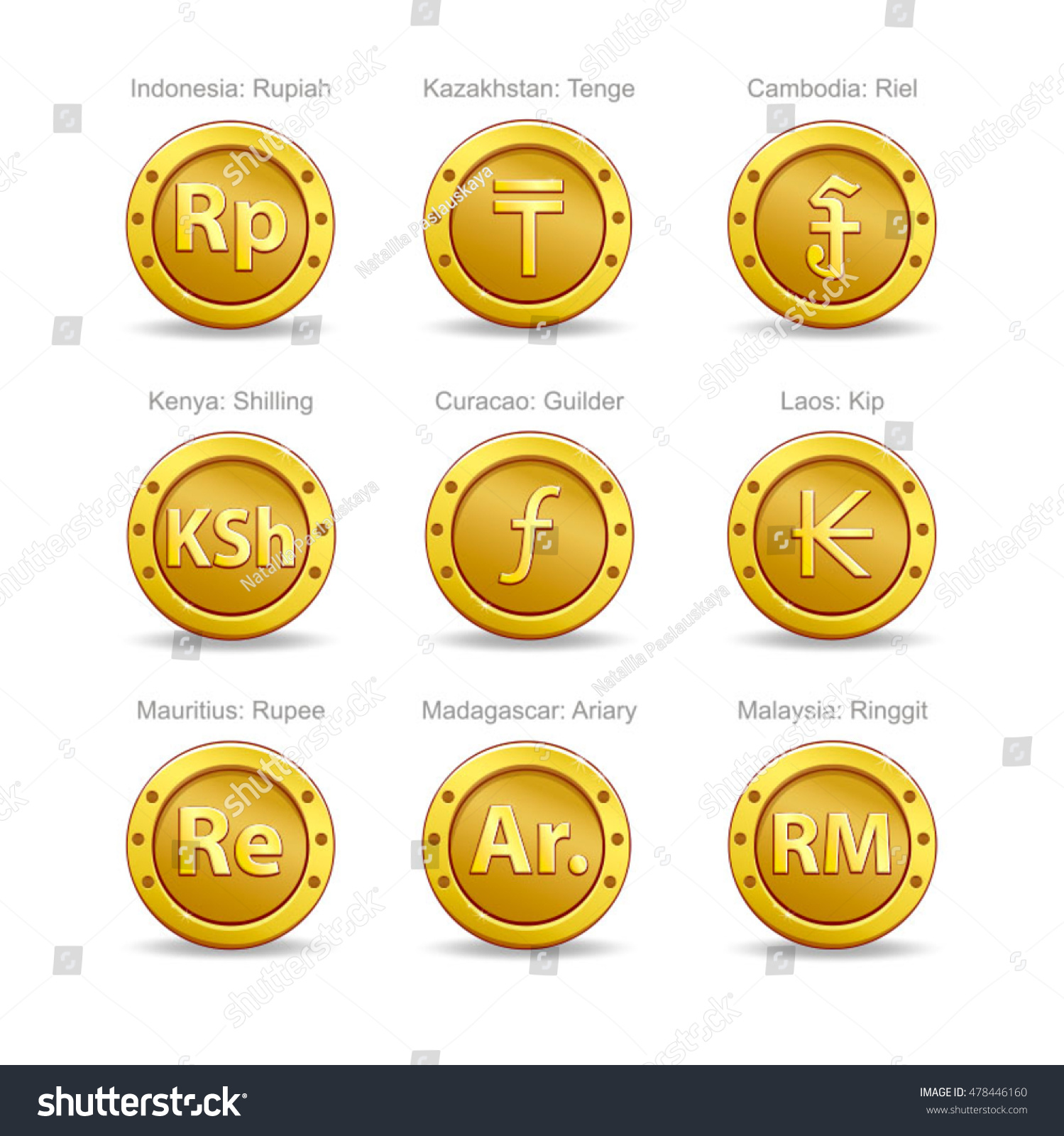 Set coins symbol currency stock vector 478446160 shutterstock set coins symbol currency buycottarizona Image collections