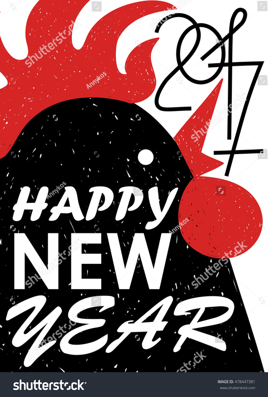happy new year greeting card typography poster with funny black rooster symbol of the