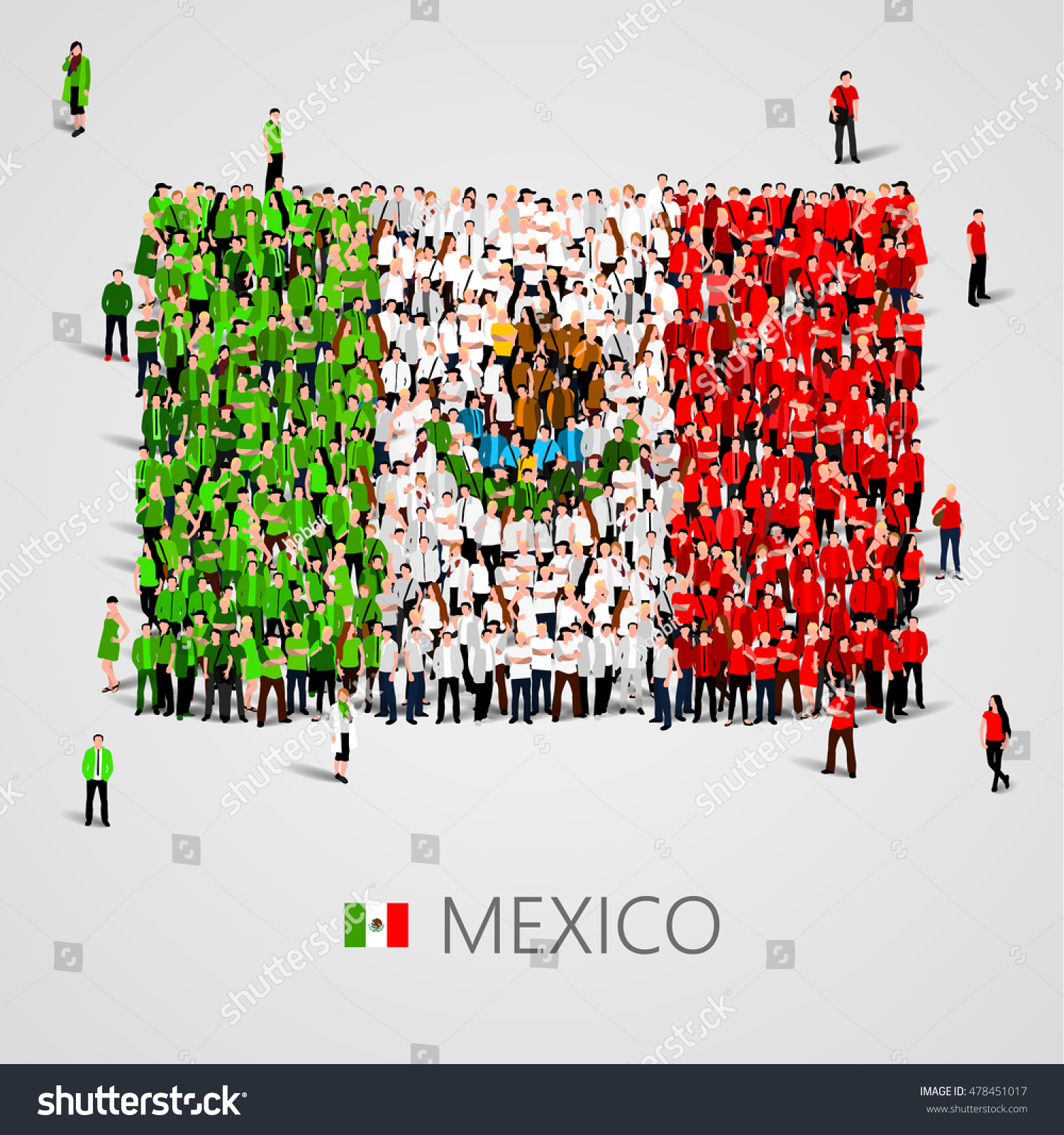 large group people shape mexican flag stock vector 478451017