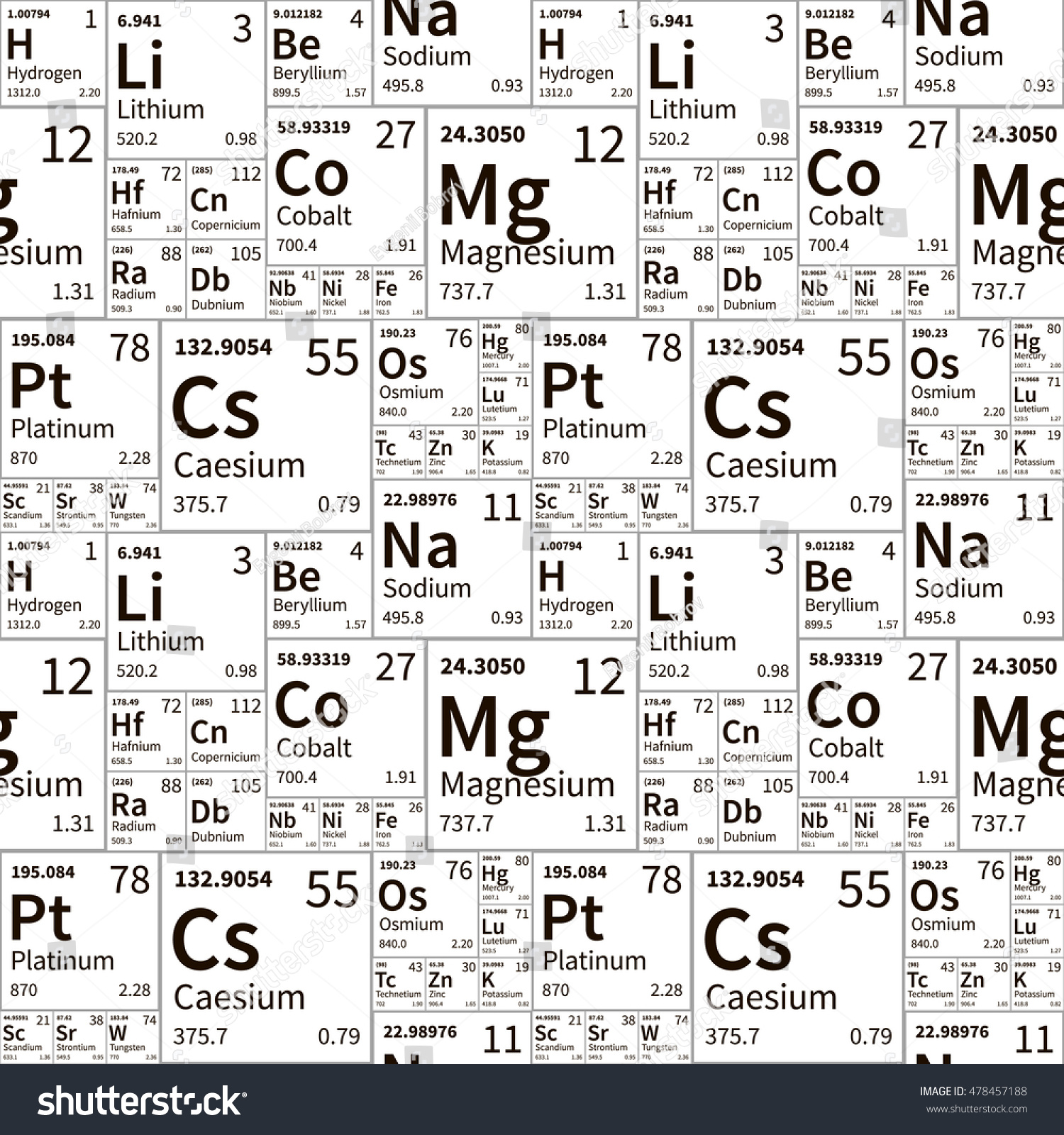 Chemical elements periodic table black white stock vector a lot of chemical elements from periodic table black and white seamless pattern gamestrikefo Gallery